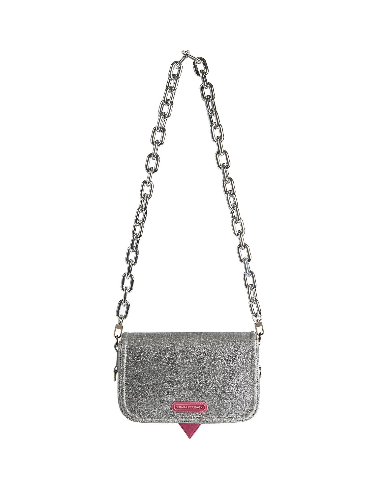 Small Eyelike Glitter Bag, Grigio argento, large image number 1