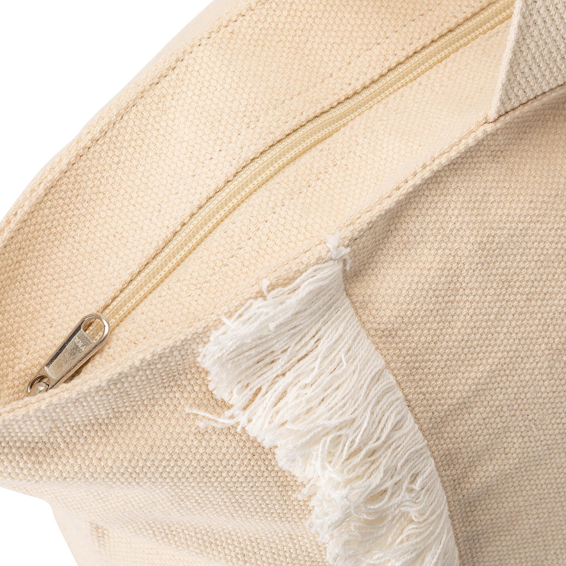 Shopper in canvas di cotone con ricamo, Beige, large image number 1