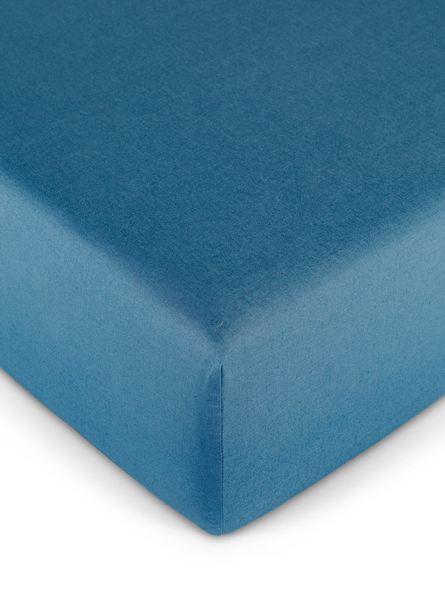 Lenzuolo con angoli puro cotone tinta unita, Blu, large image number 0
