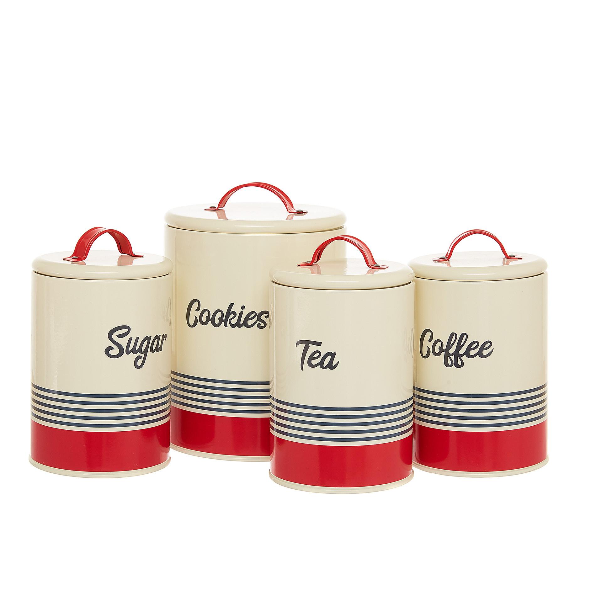 Barattolo ferro smaltato Tea, Bianco/Rosso, large image number 2