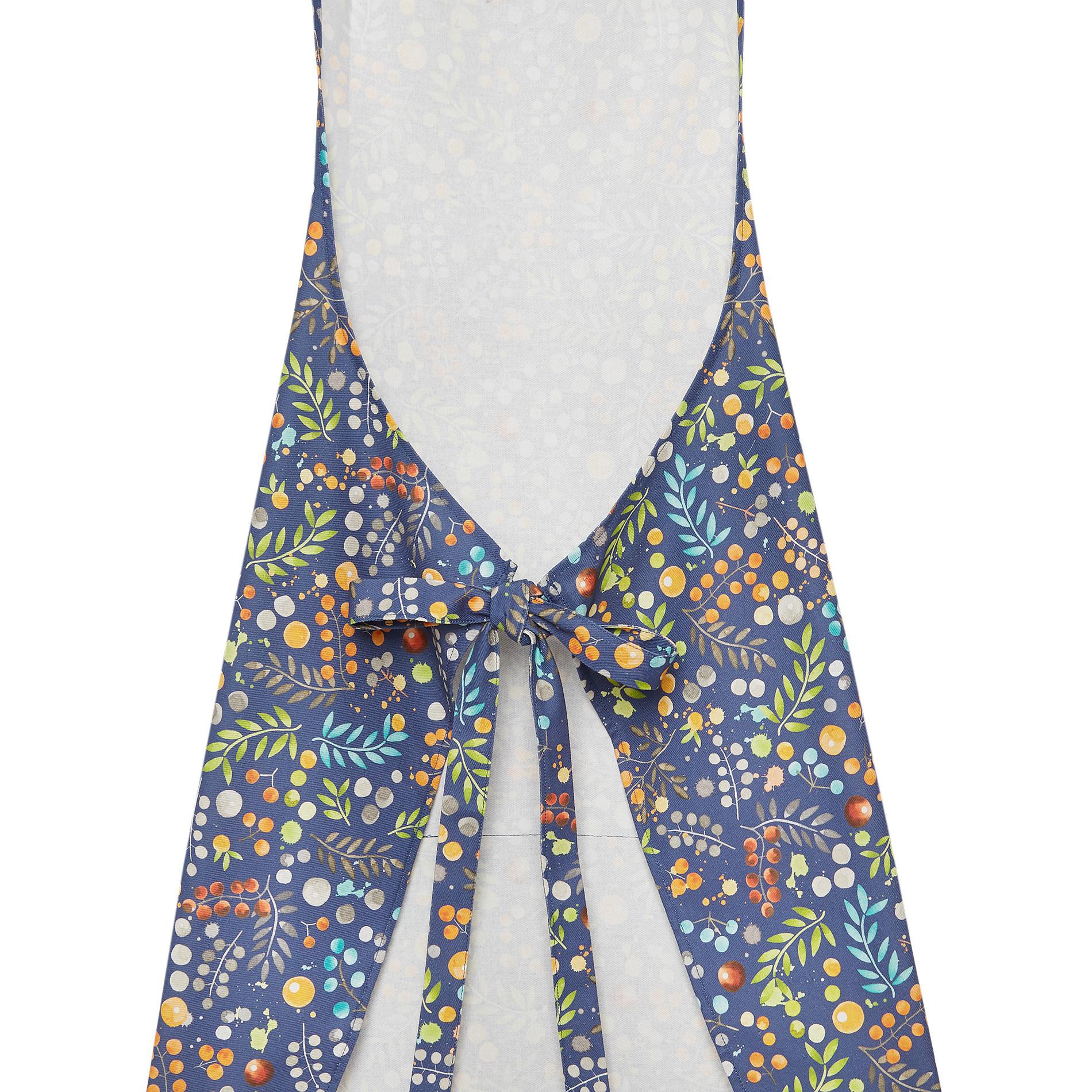 Grembiule da cucina twill di cotone stampa fiori, Blu, large image number 1