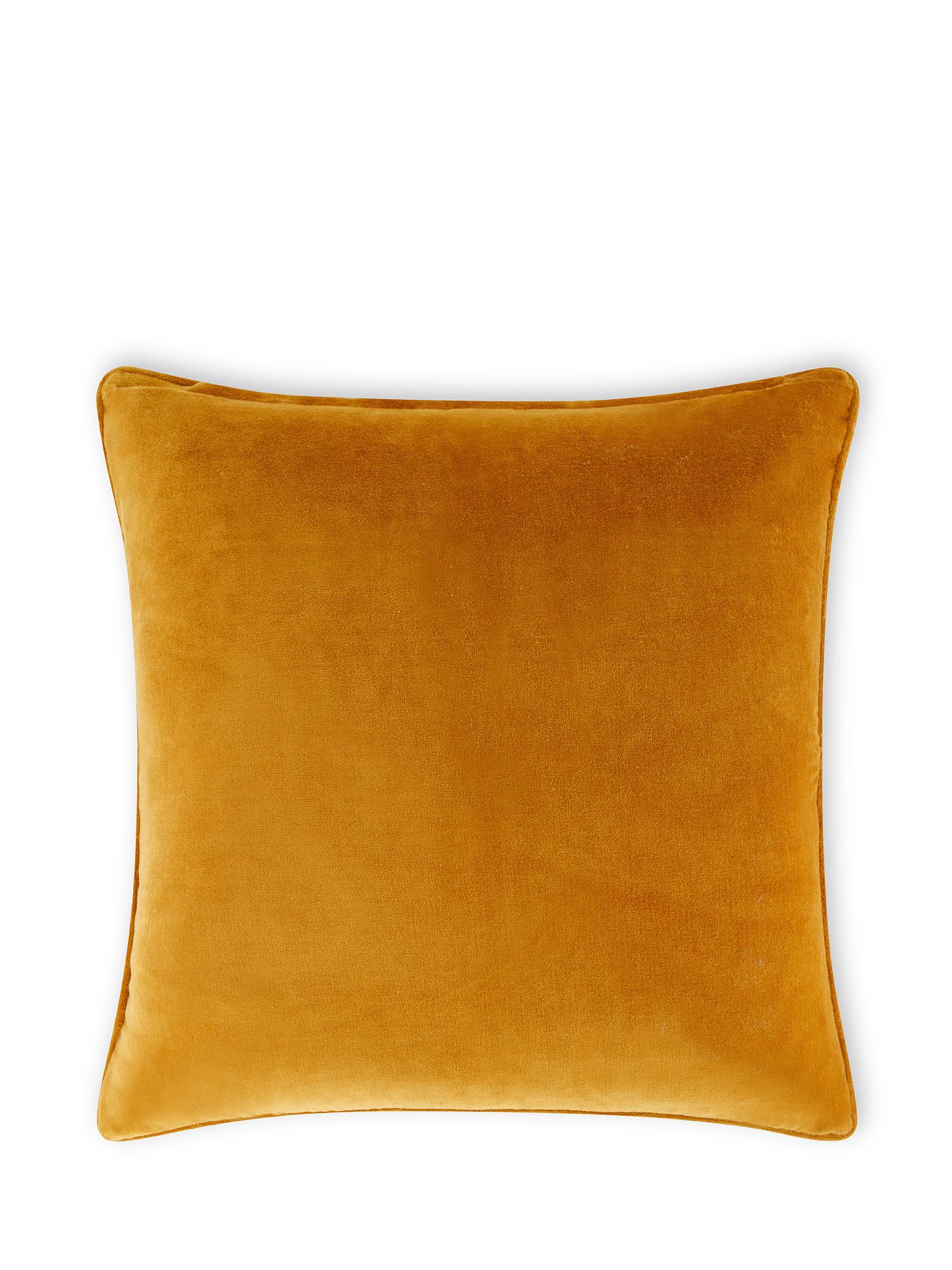 Cuscino velluto di cotone tinta unita 45x45cm, Giallo ocra, large image number 1