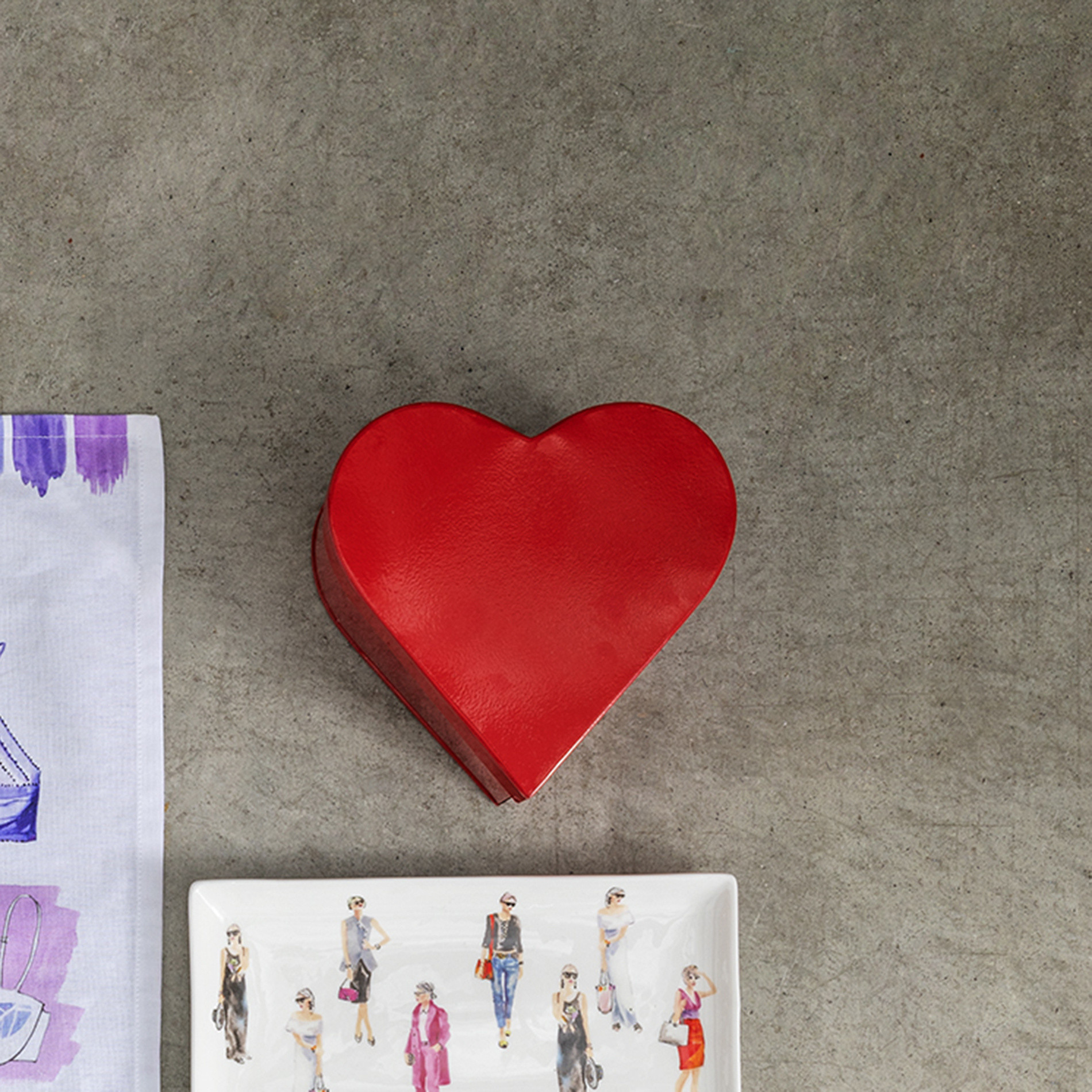 Barattolo latta smaltata a cuore, Rosso, large image number 3