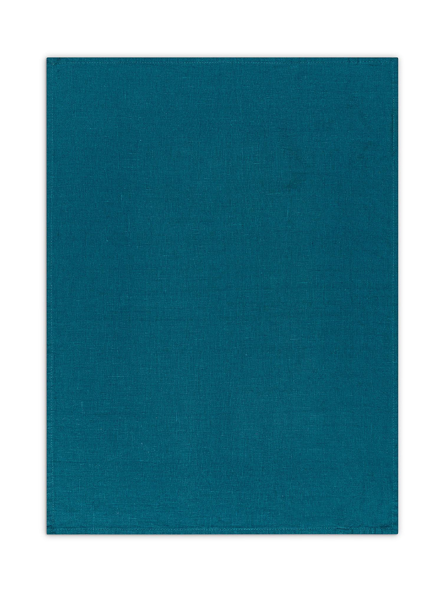 Strofinaccio lino lavato tinta unita, Petrolio, large image number 1