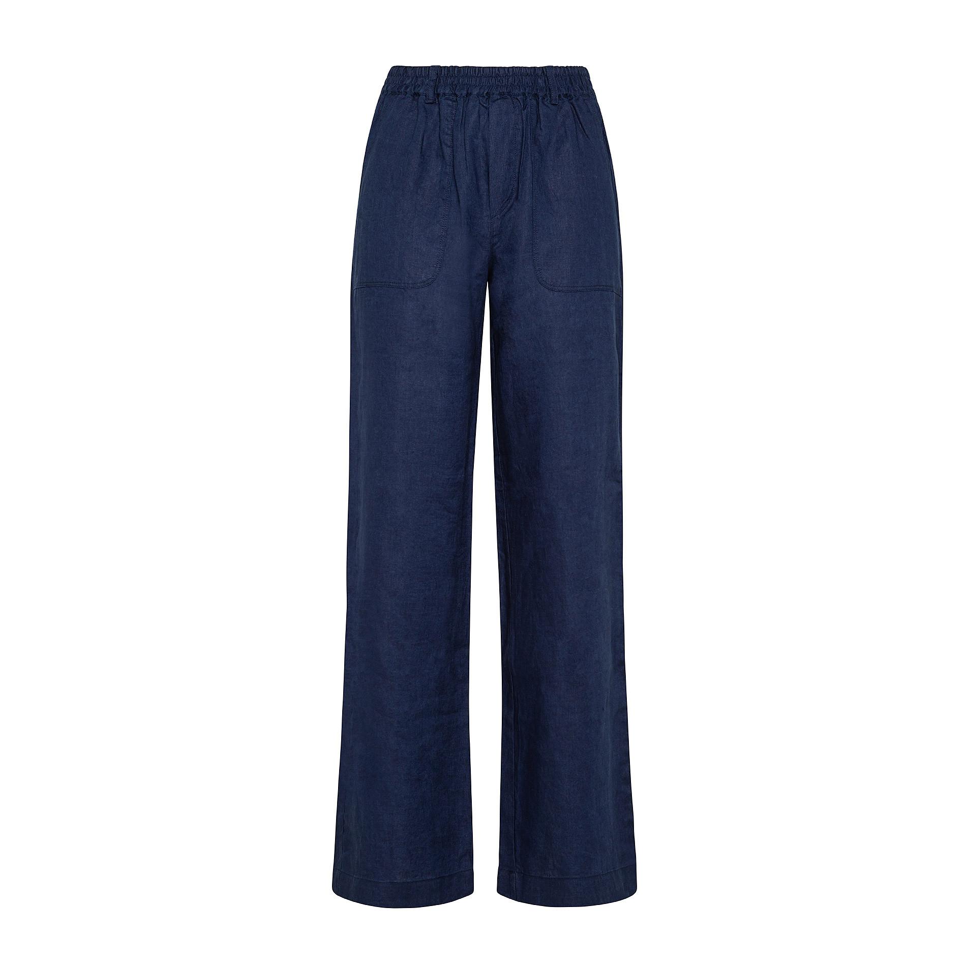Pantalone morbido 100% lino Koan, Blu scuro, large image number 0