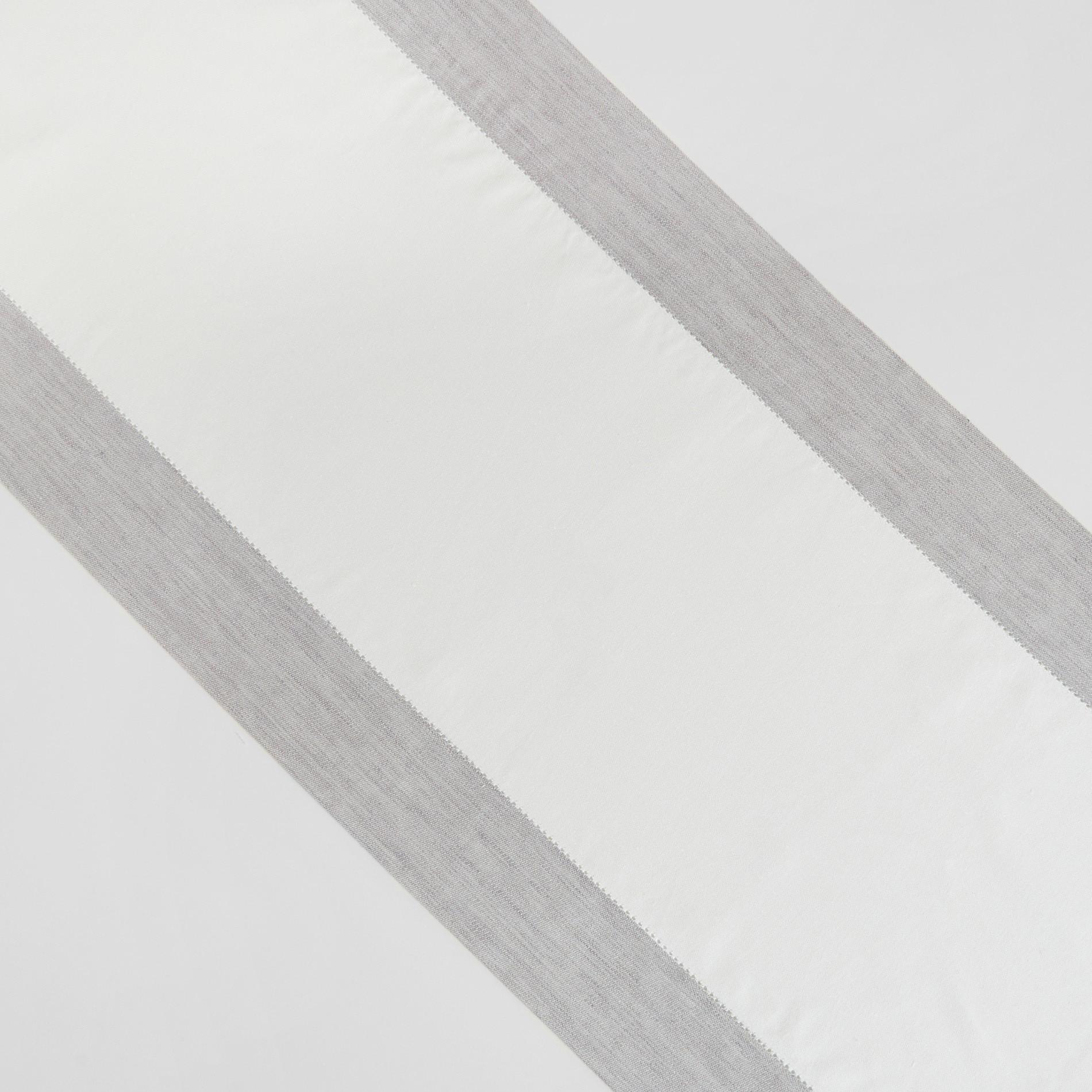 Runner lino e cotone bordo mèlange, Bianco, large image number 1