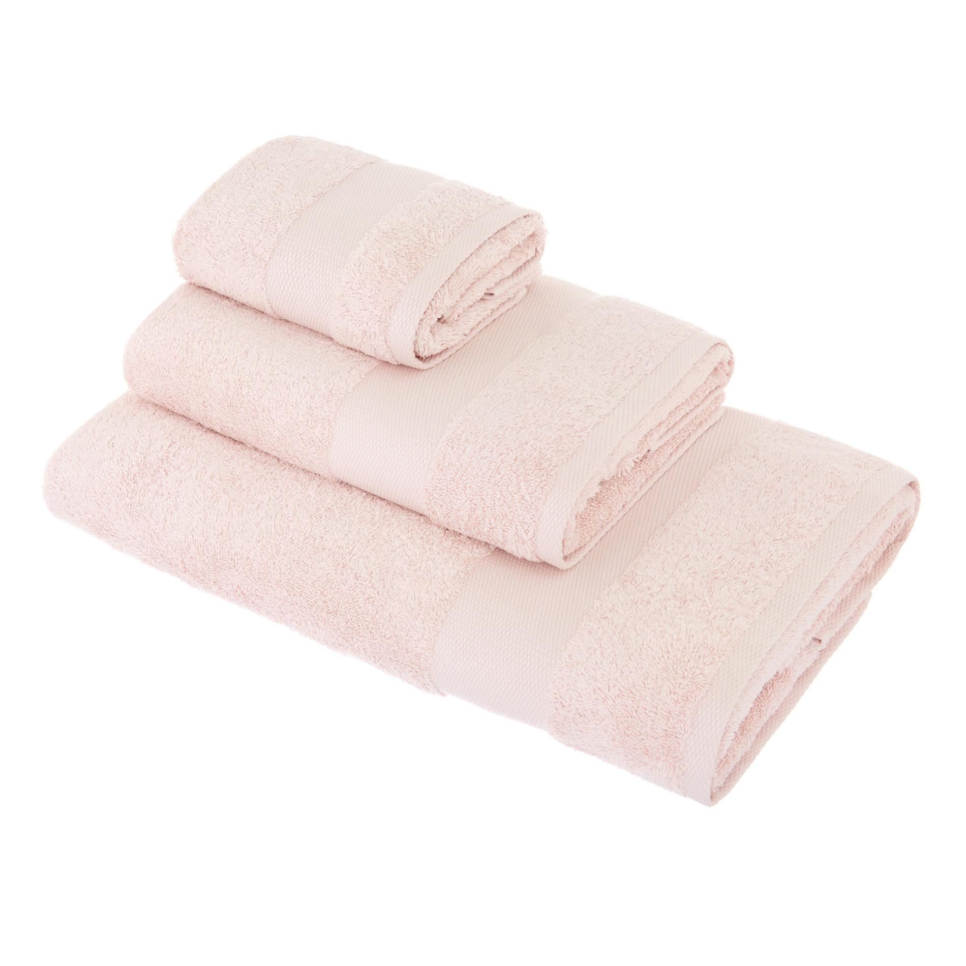 Asciugamano spugna di puro cotone Zefiro, Rosa cipria, large image number 0