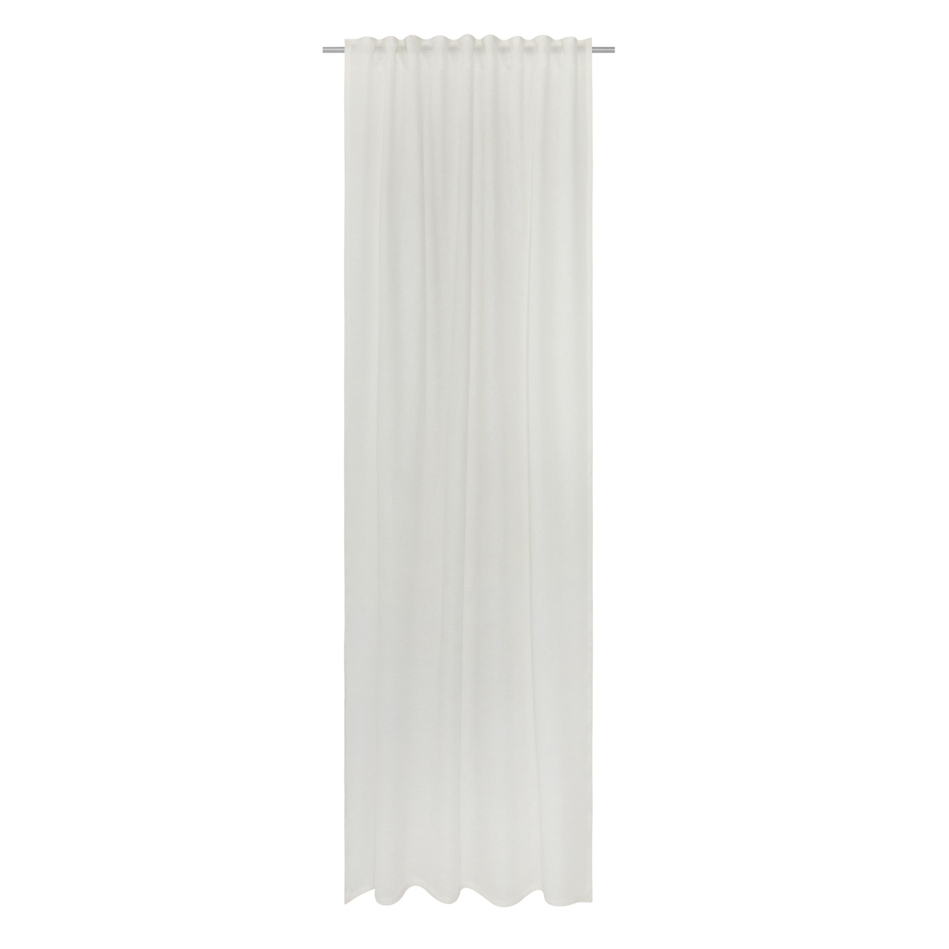 Tenda misto lino passanti nascosti, Bianco, large image number 2