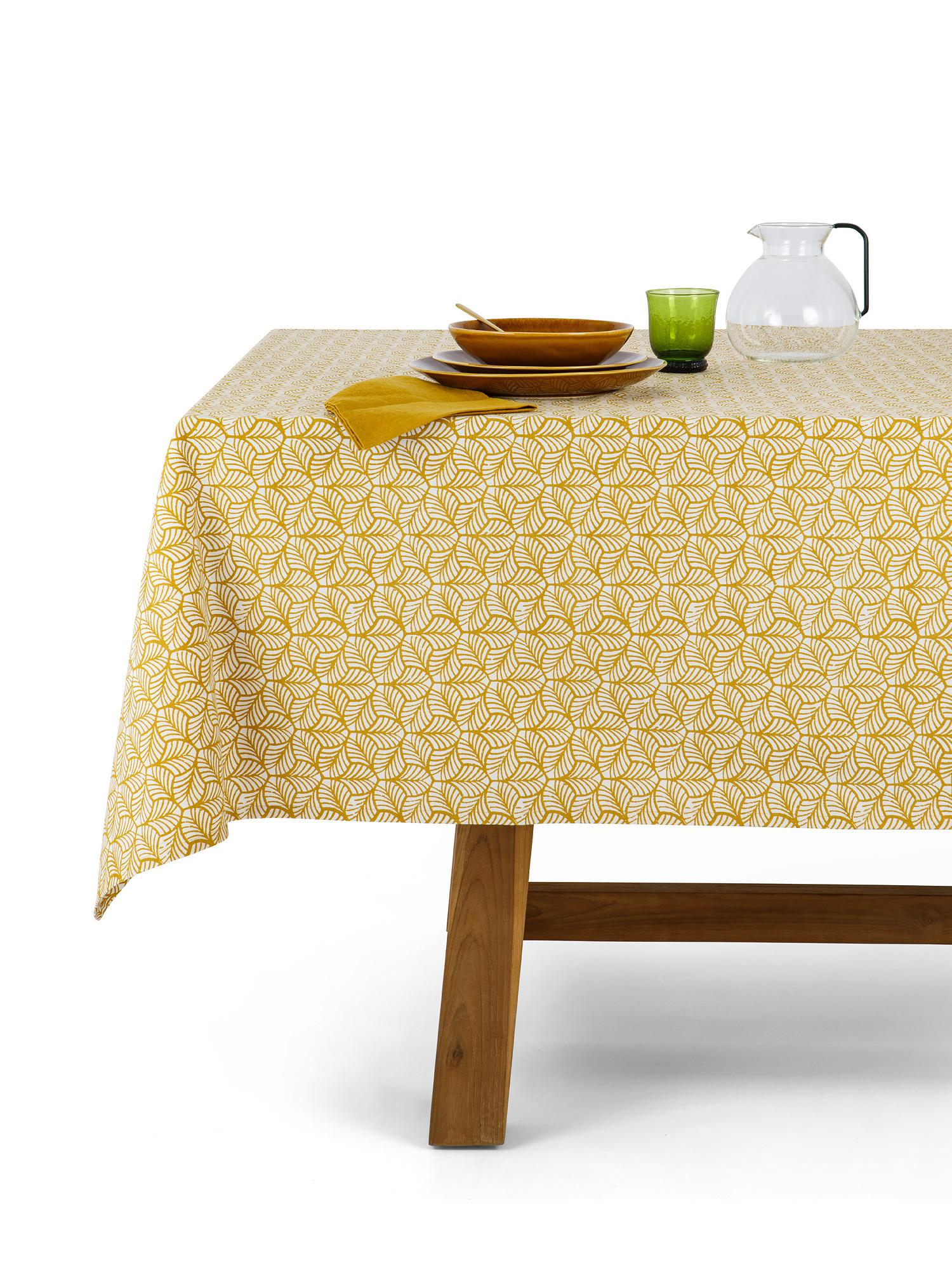 Tovaglia puro cotone stampa foglie, Giallo, large image number 0