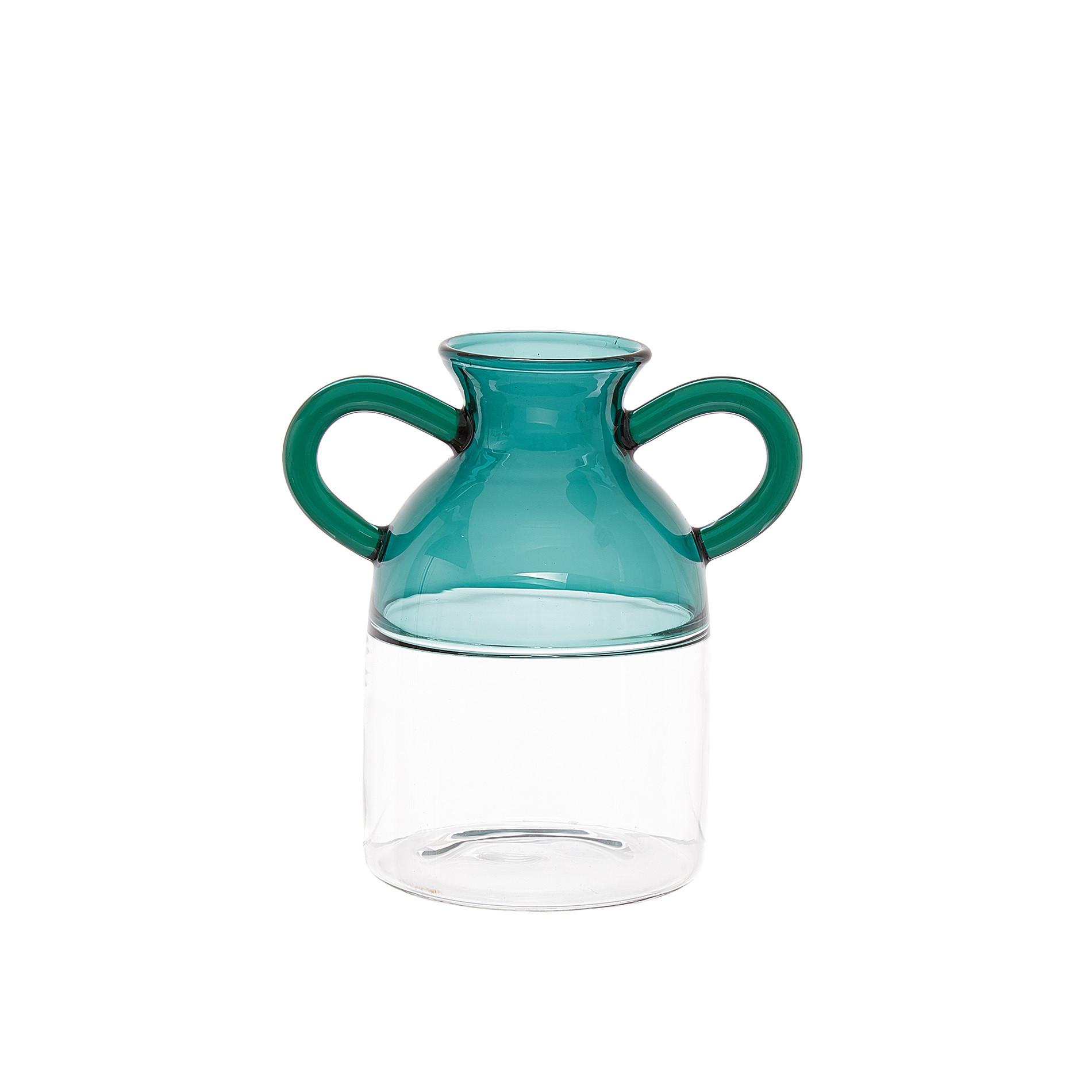 Vaso vetro manici colorati, Trasparente, large image number 0