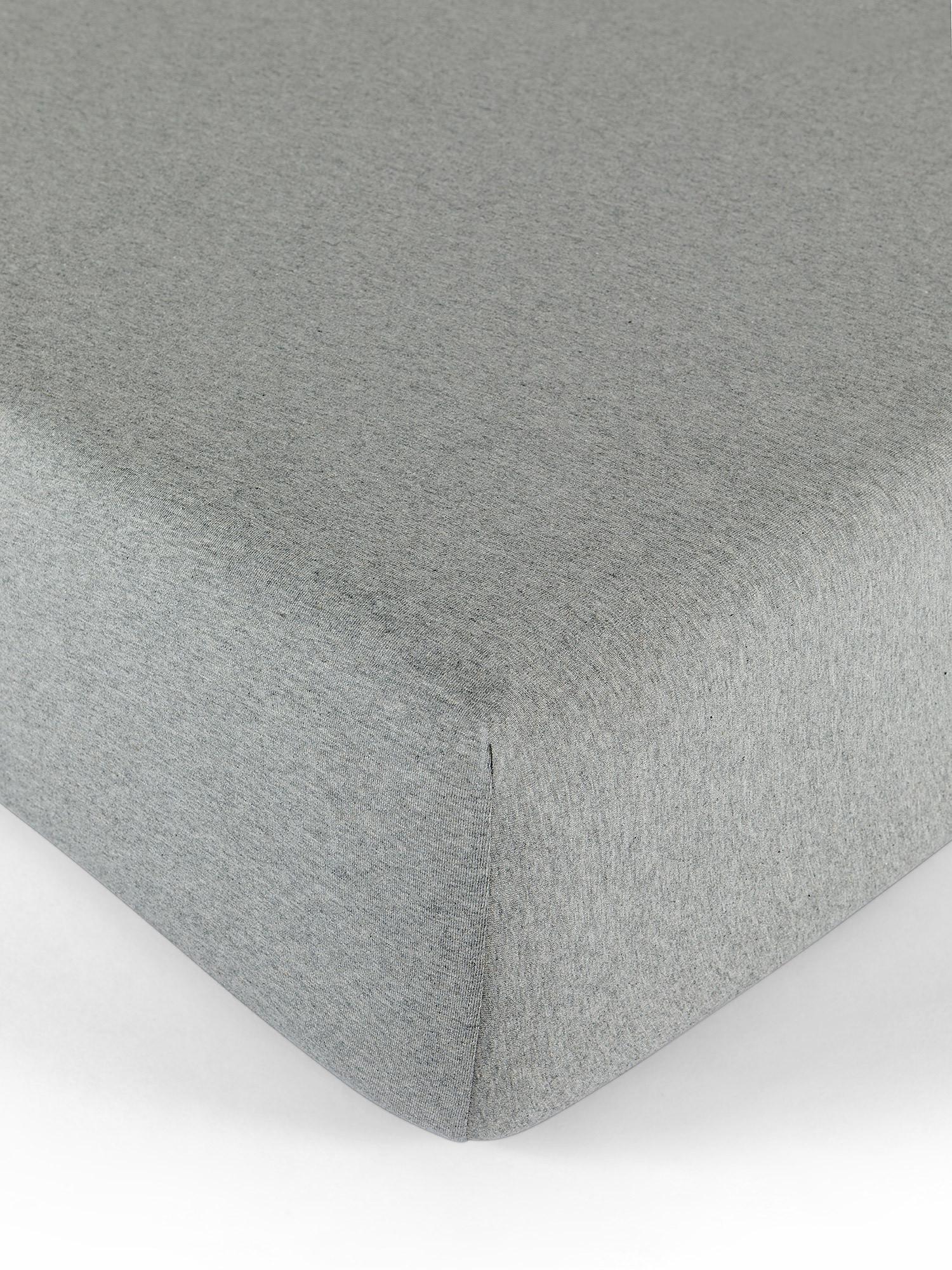 Lenzuolo con angoli jersey di cotone tinta unita, Grigio, large image number 0
