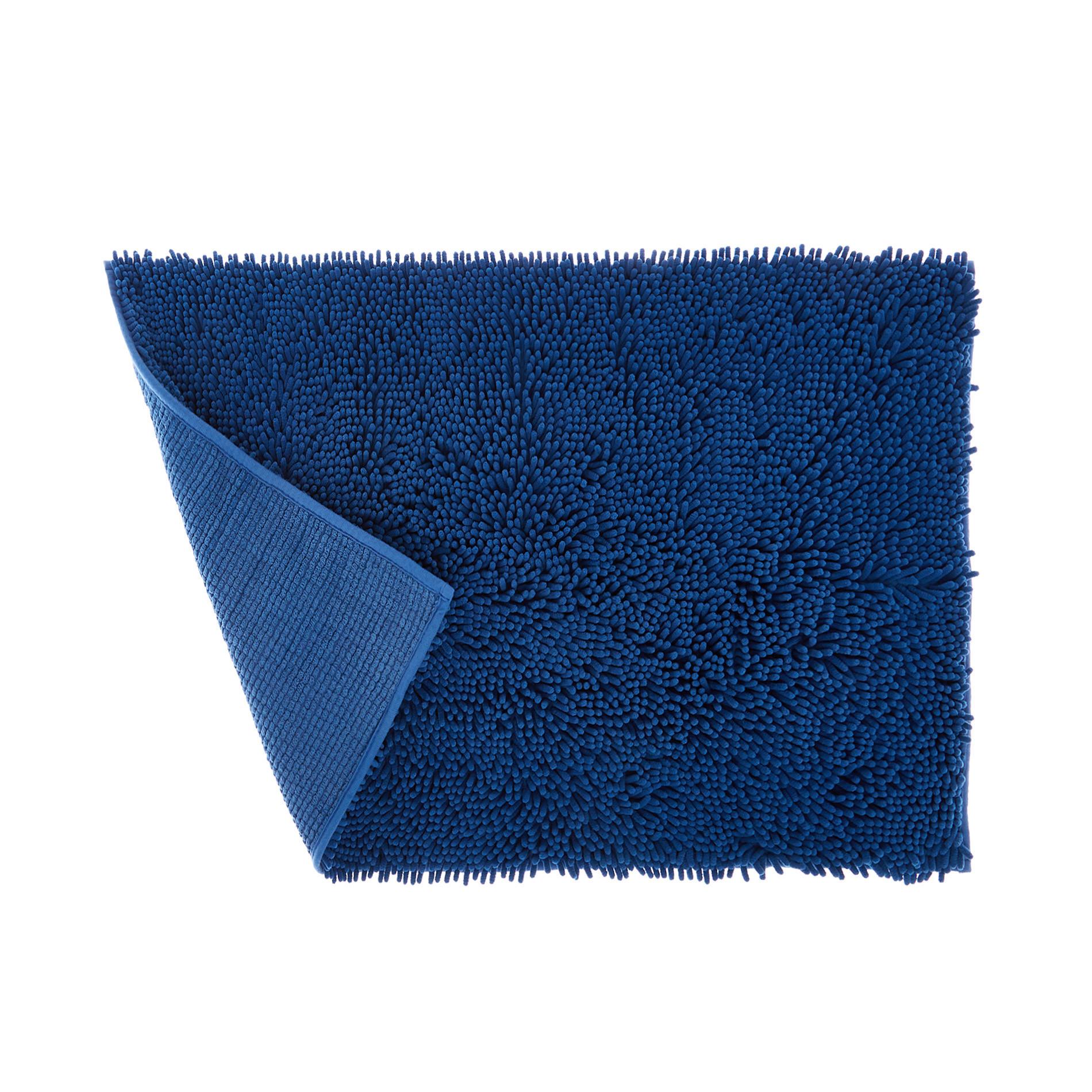 Tappeto bagno microfibra shaggy, Blu, large image number 1