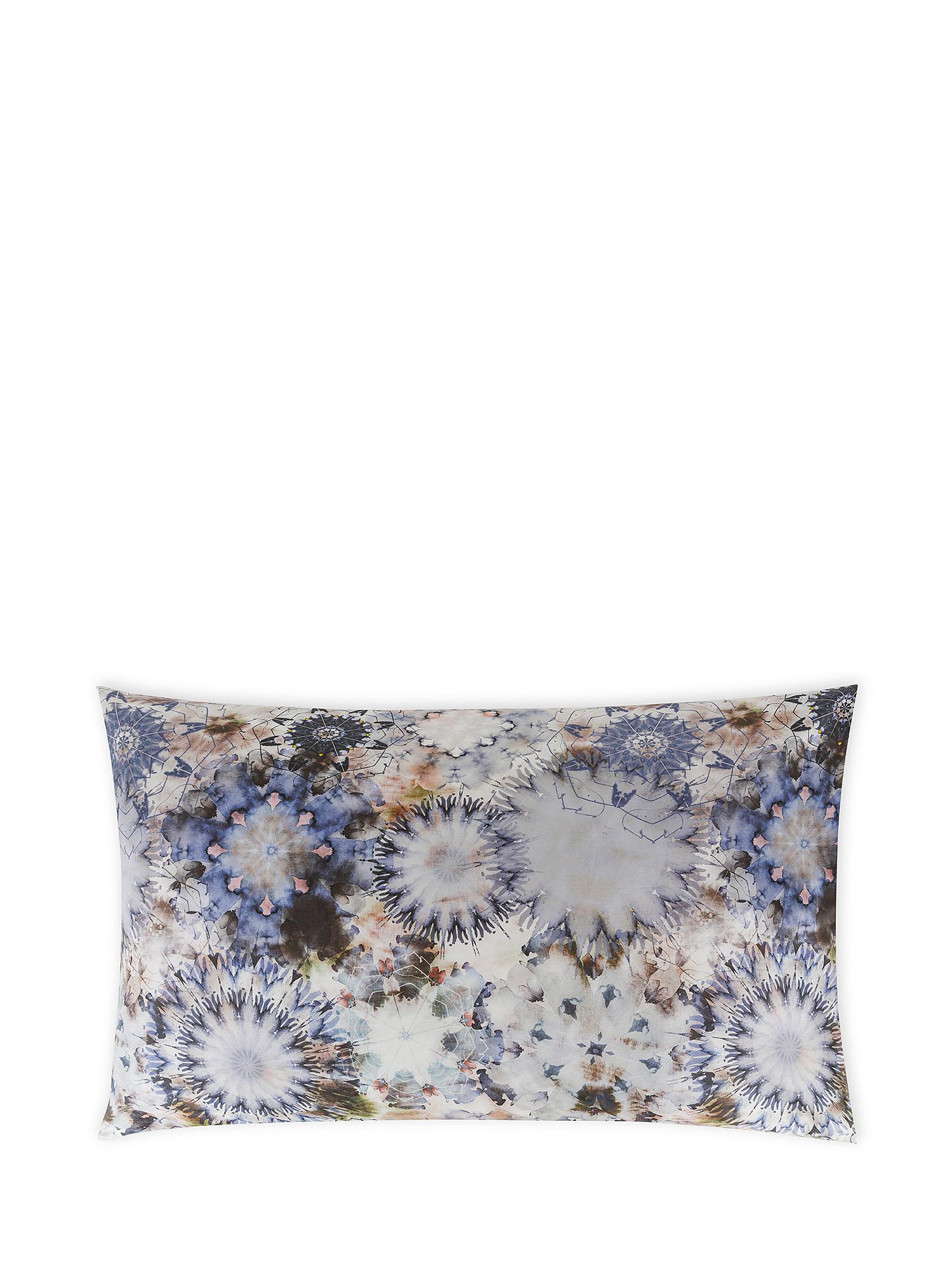 Federa cotone percalle fantasia floreale, Blu, large image number 0