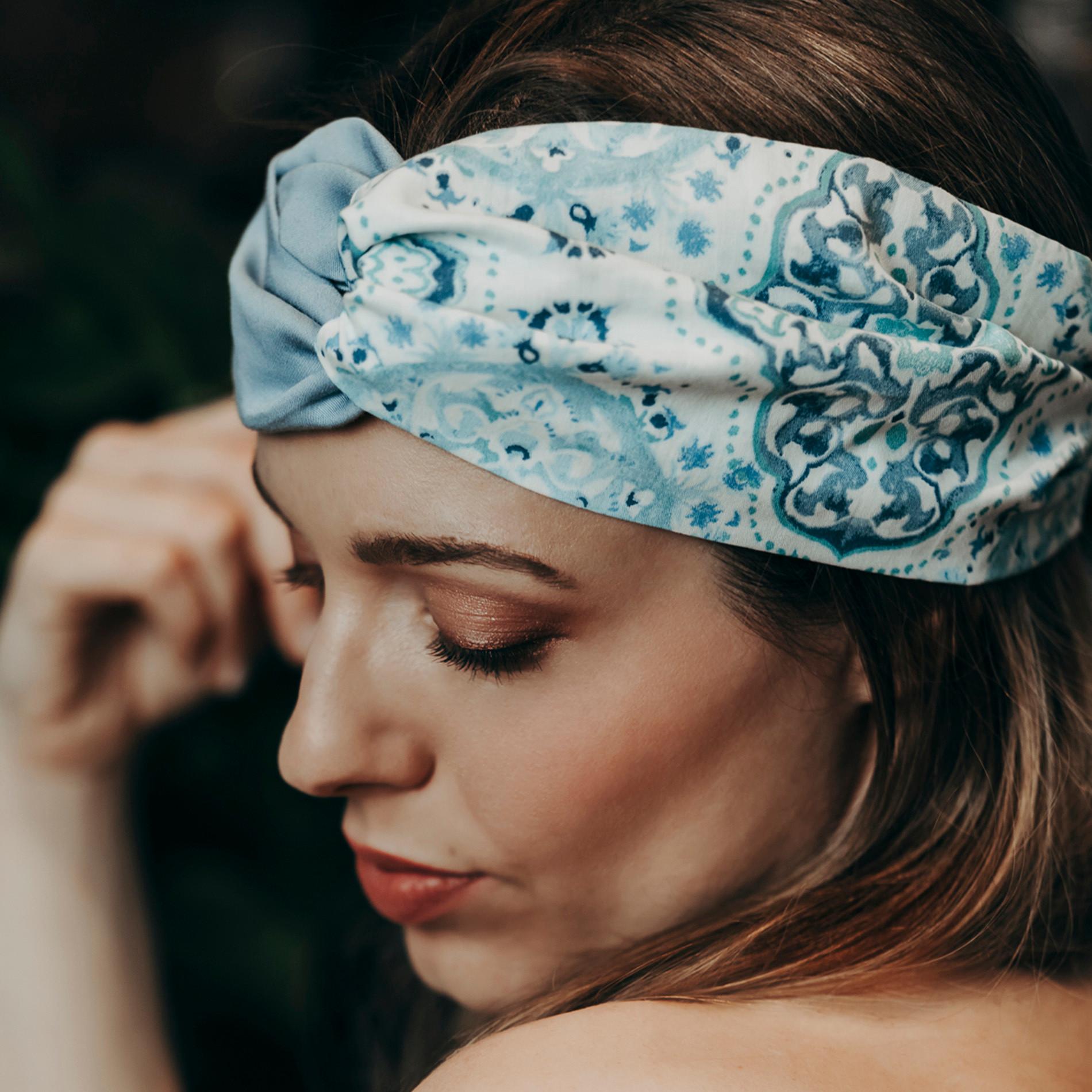Fascia per capelli fantasia ornamentale, Azzurro, large image number 1
