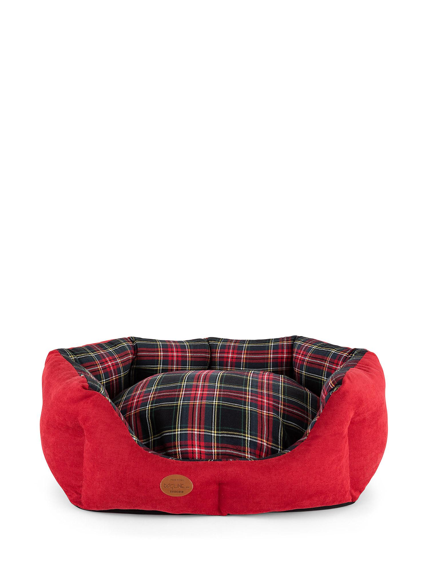 Cuccia trapuntata motivo tartan, Rosso, large image number 4