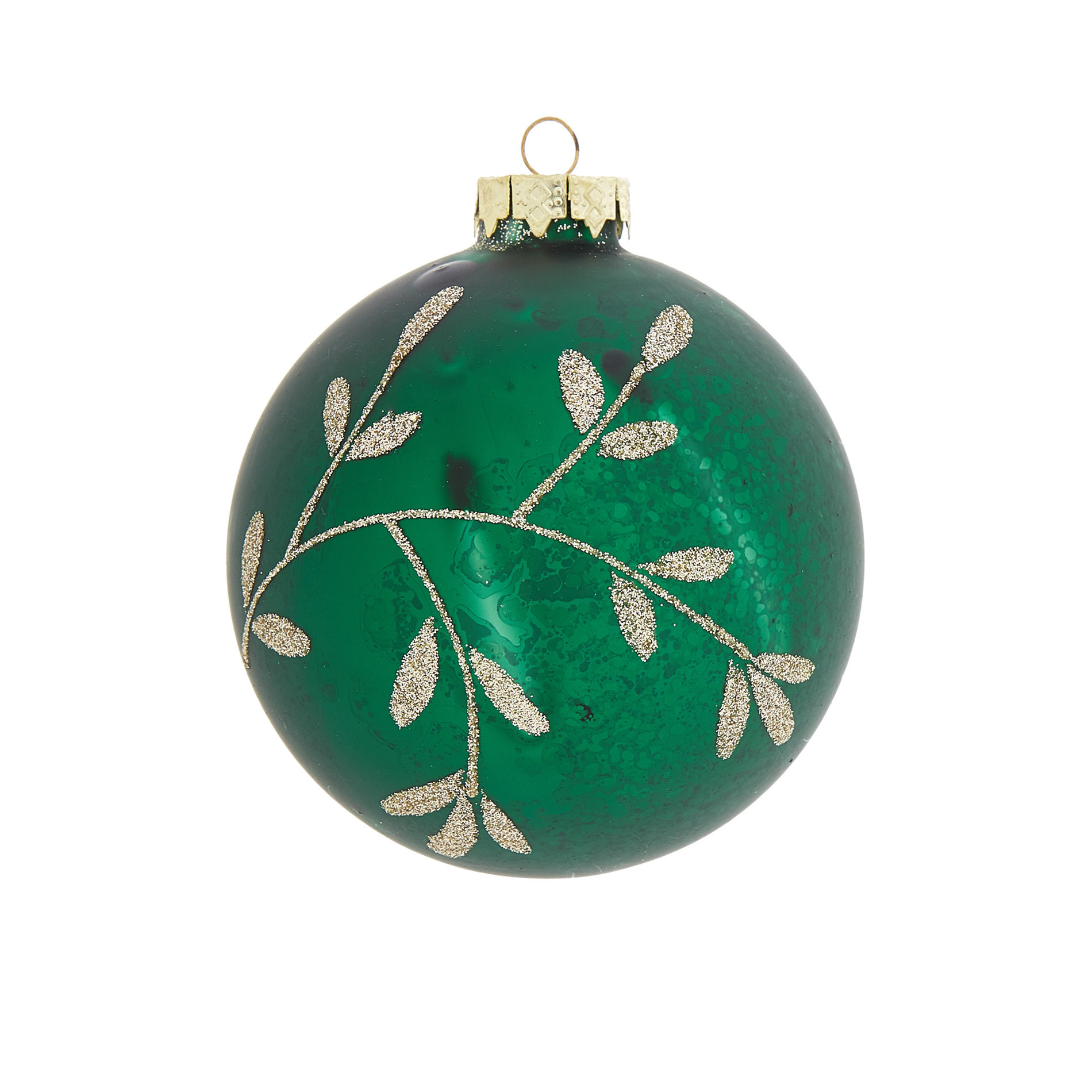 Sfera foglie decorata a mano, Verde, large image number 0