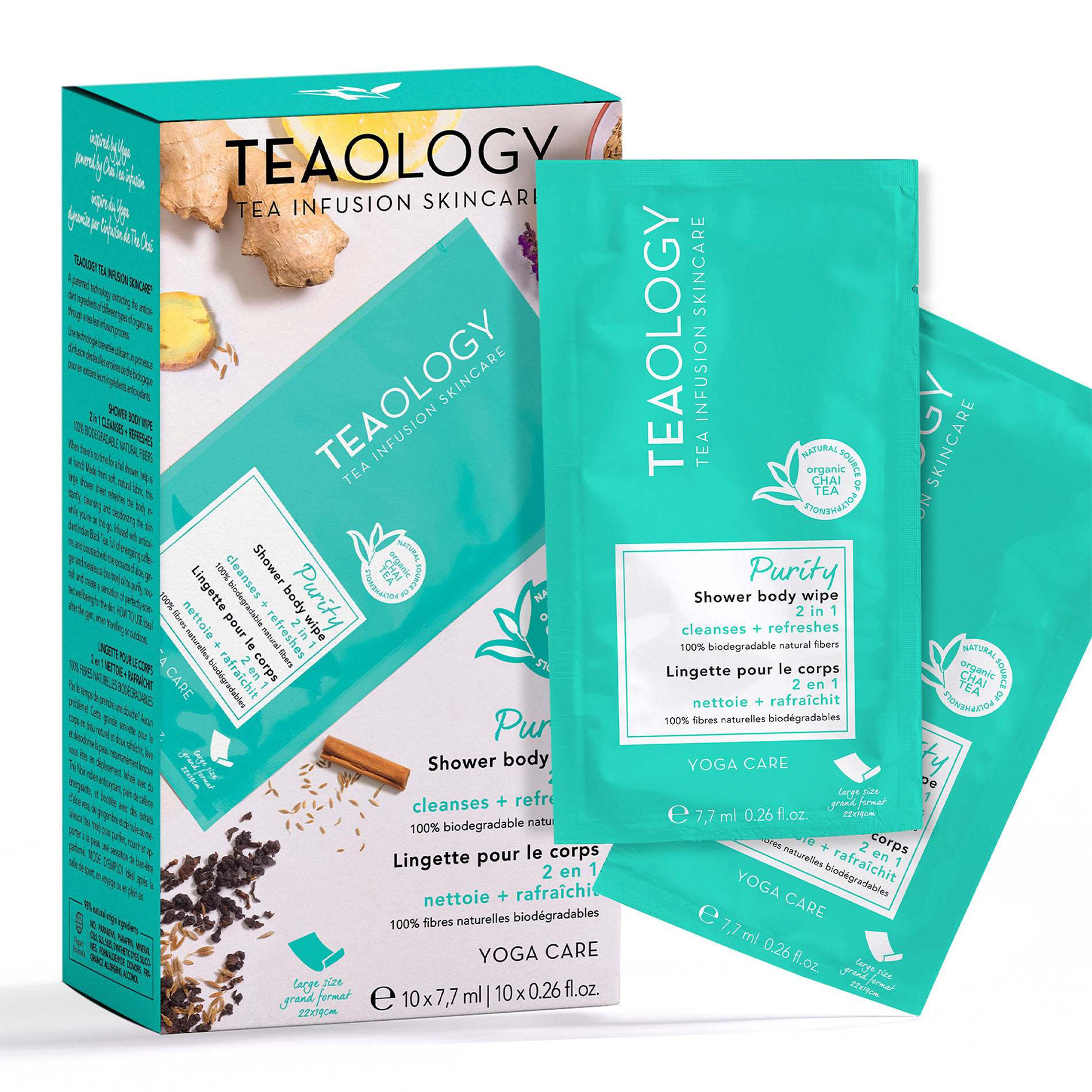 Teaology Purity Shower Body Wipe Multipack 7,7 ml  X 10, Azzurro, large image number 1