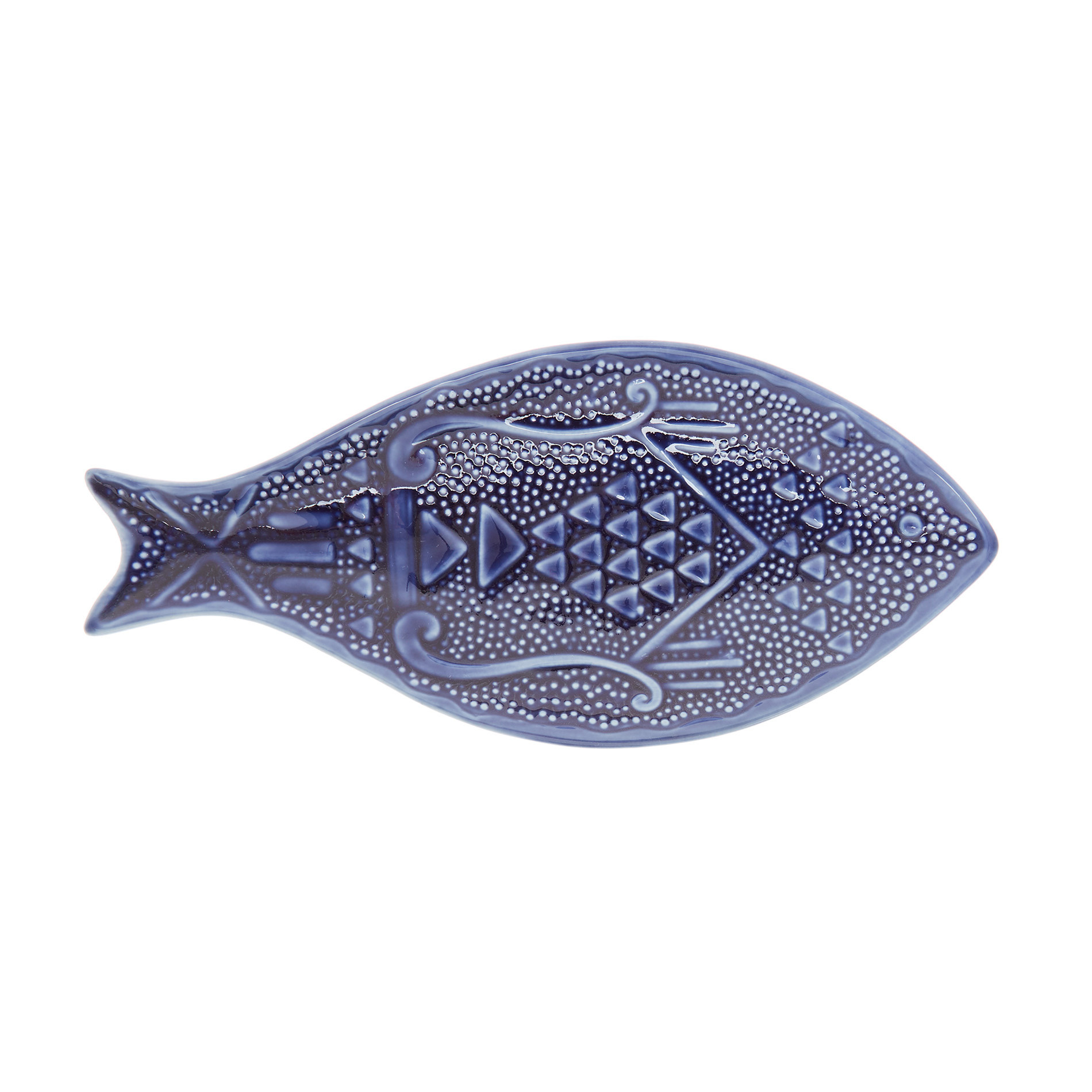 Piatto porcellana a pesce, Blu, large image number 0