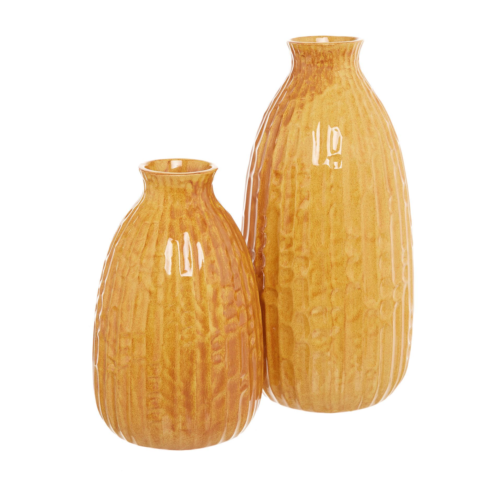 Vaso ceramica artigianale portoghese, Giallo scuro, large image number 1