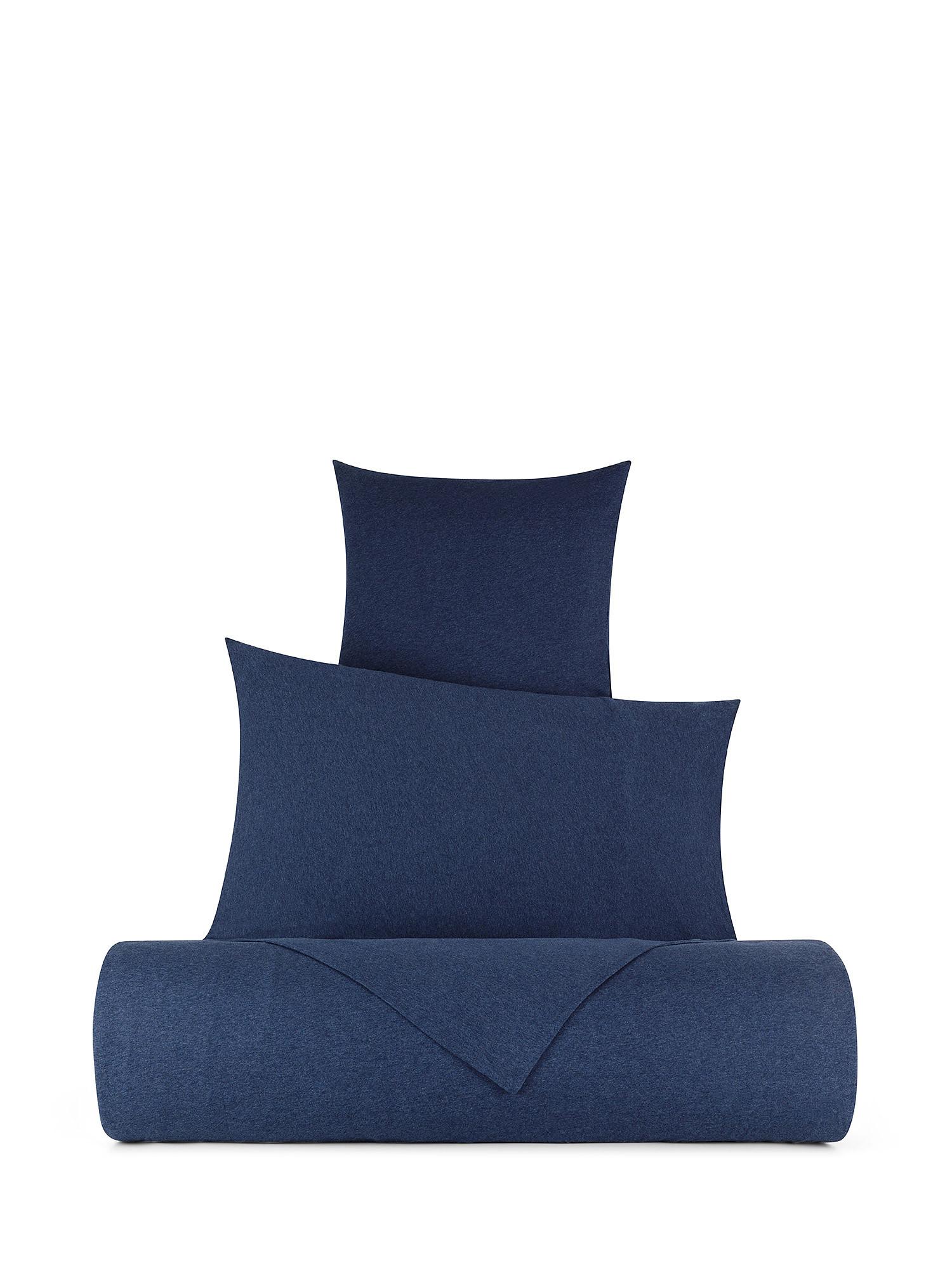 Parure copripiumino jersey di cotone tinta unita, Blu, large image number 0