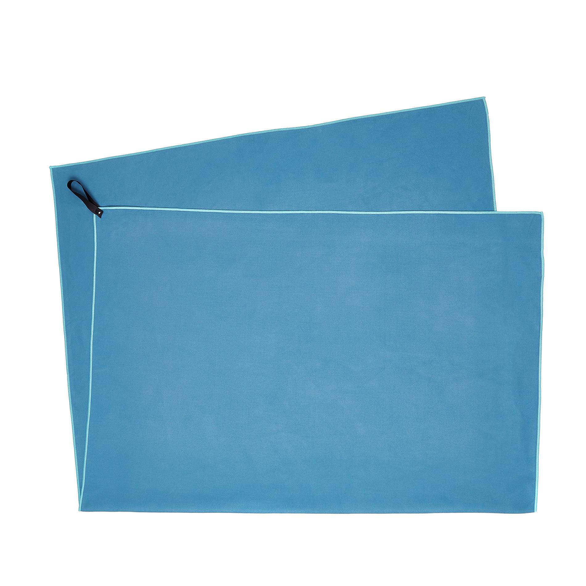 Telo bagno microfibra tinta unita, Blu, large image number 1