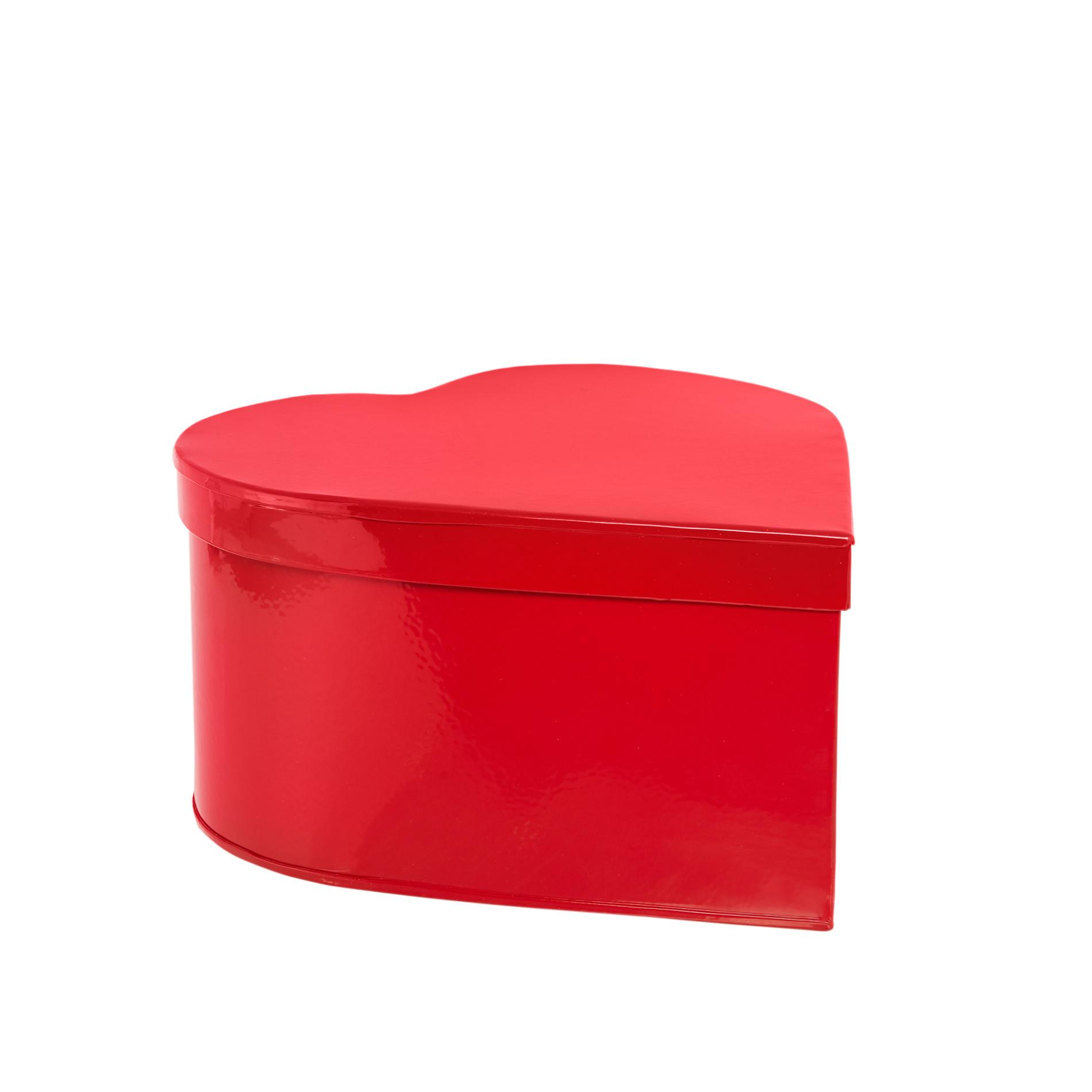 Barattolo latta smaltata a cuore, Rosso, large image number 0