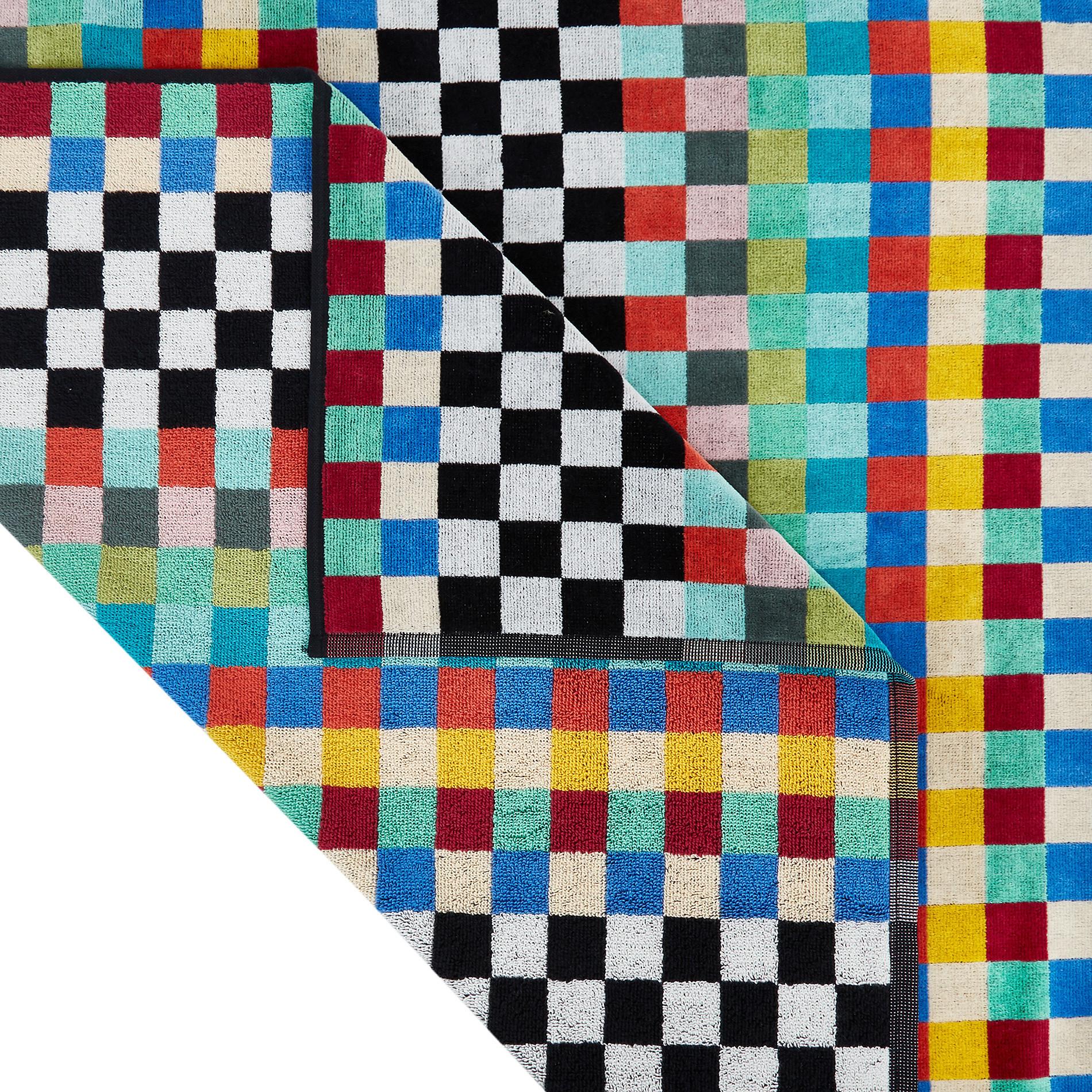 Telo mare cotone velour motivo check, Multicolor, large image number 1