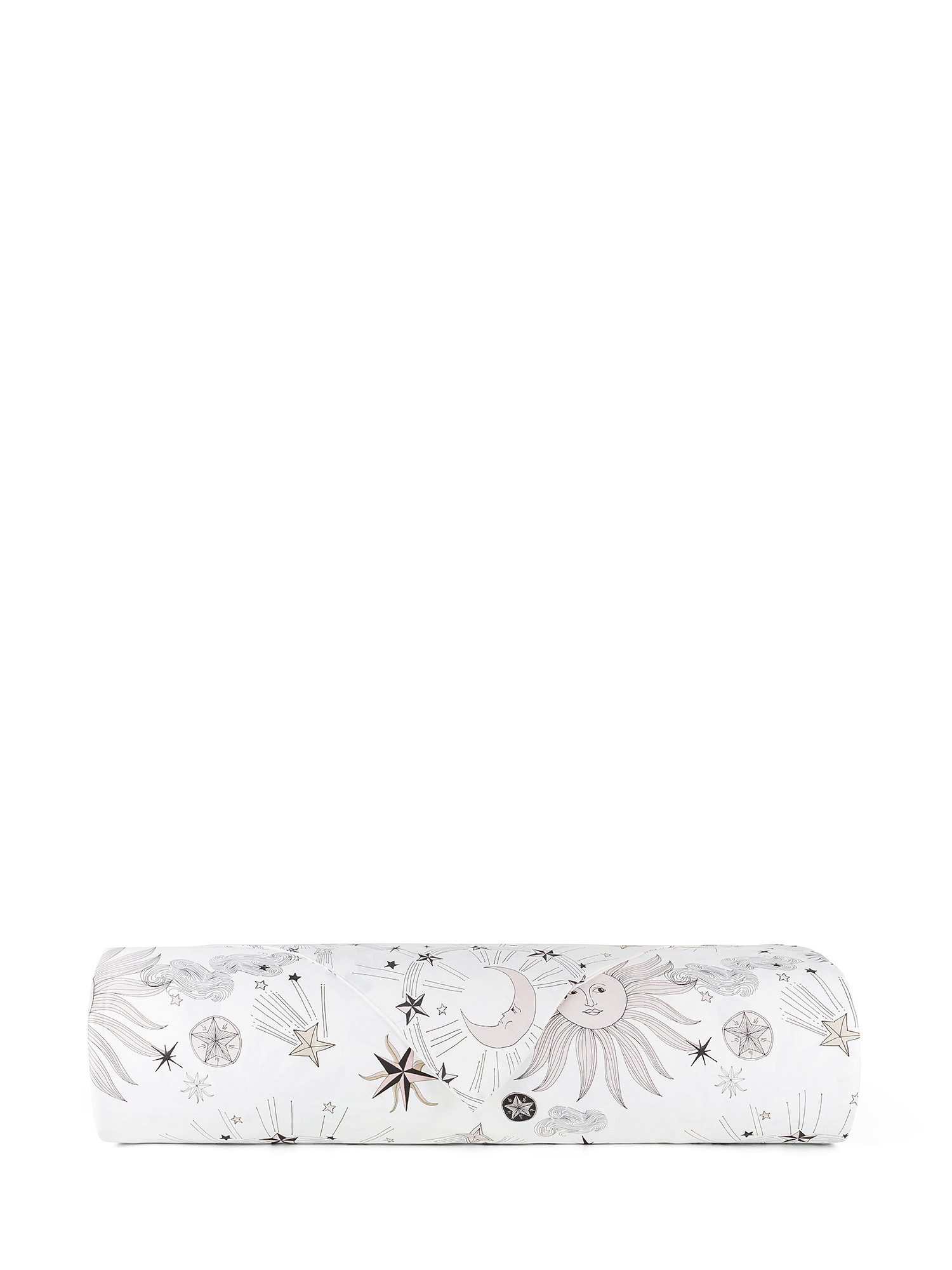 Copripiumino raso di cotone fantasia sole e luna, Bianco, large image number 1