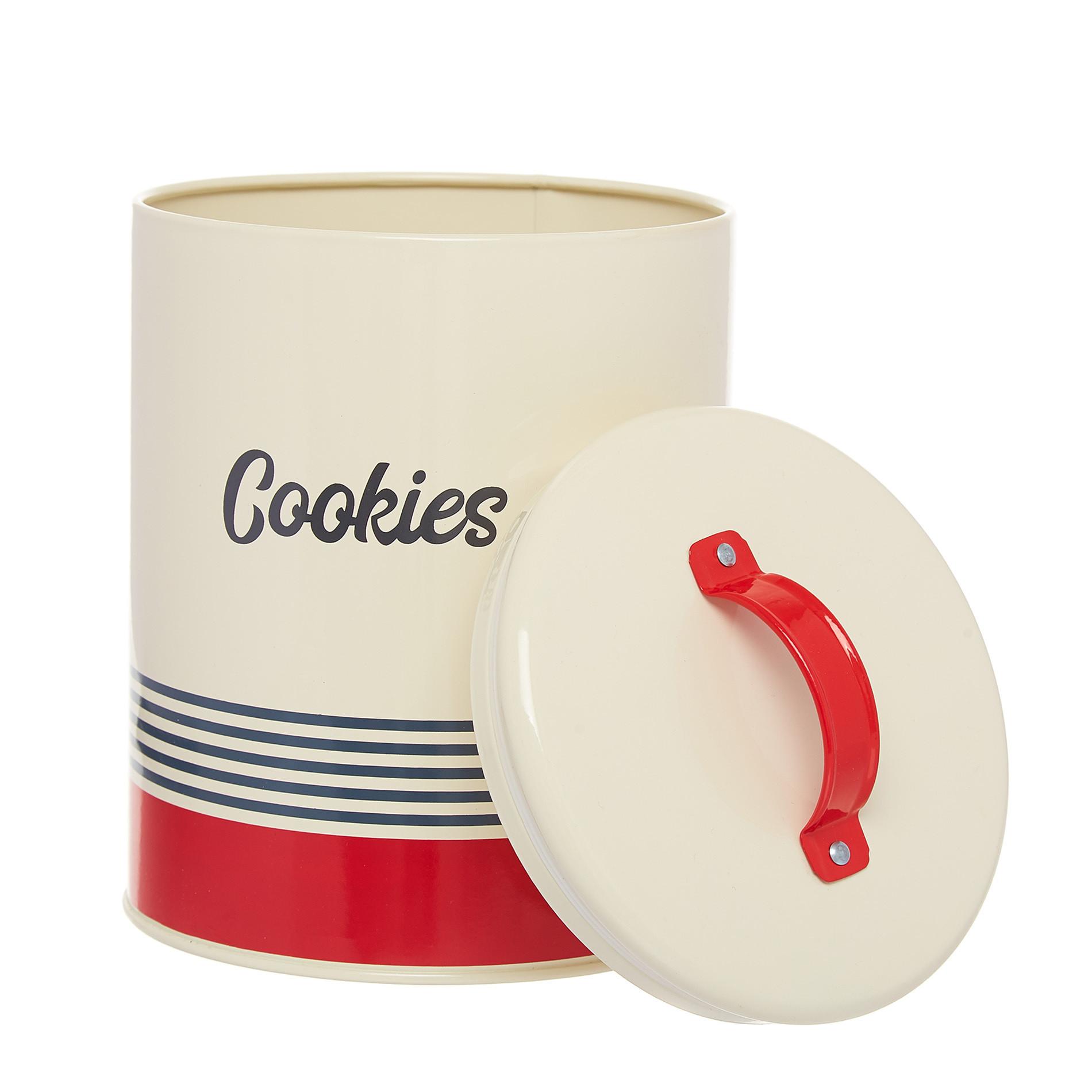 Barattolo ferro smaltato Cookies, Bianco/Rosso, large image number 1