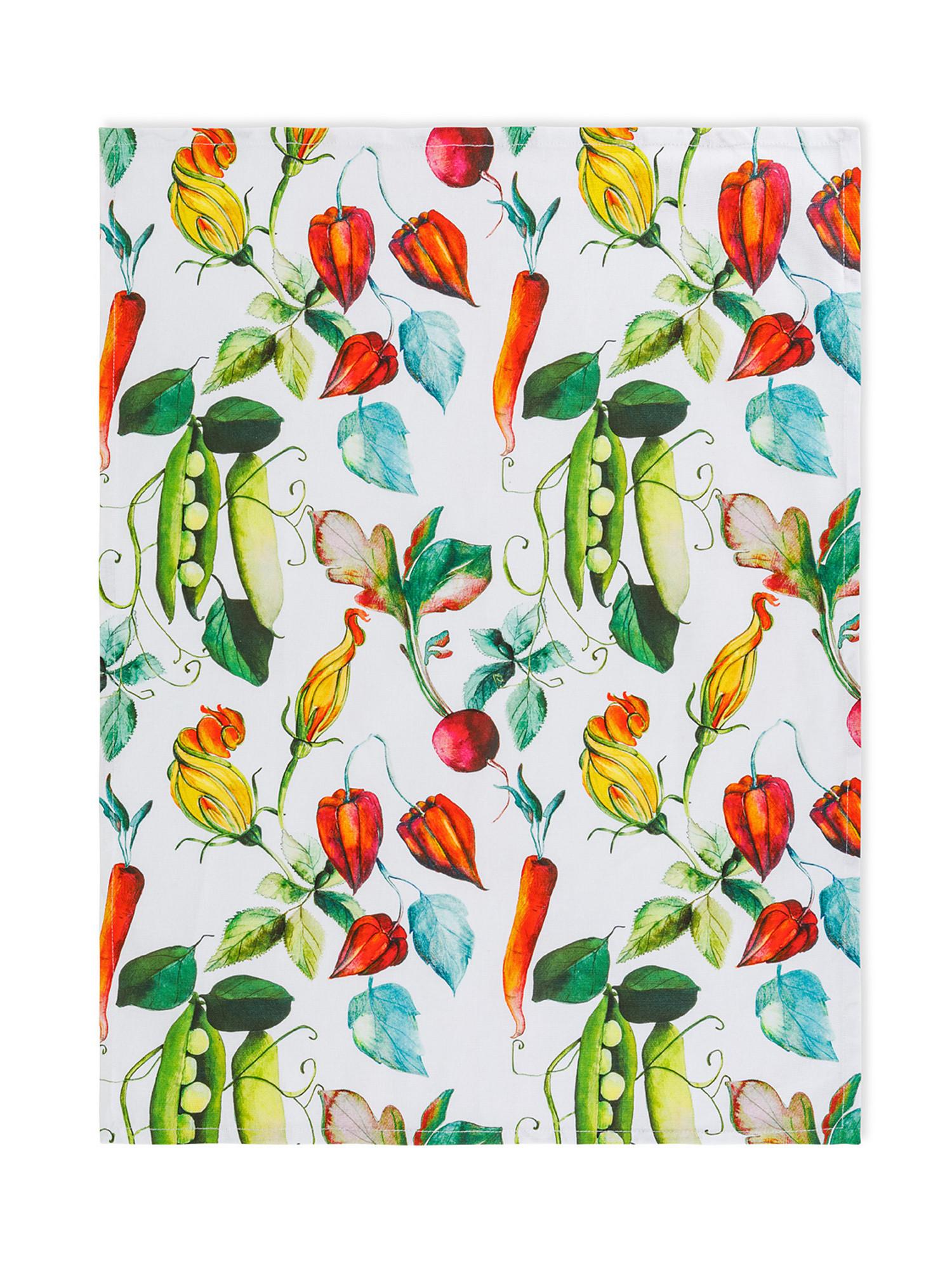 Set 3 strofinacci puro cotone organico stampa ortaggi, Blu scuro, large image number 2