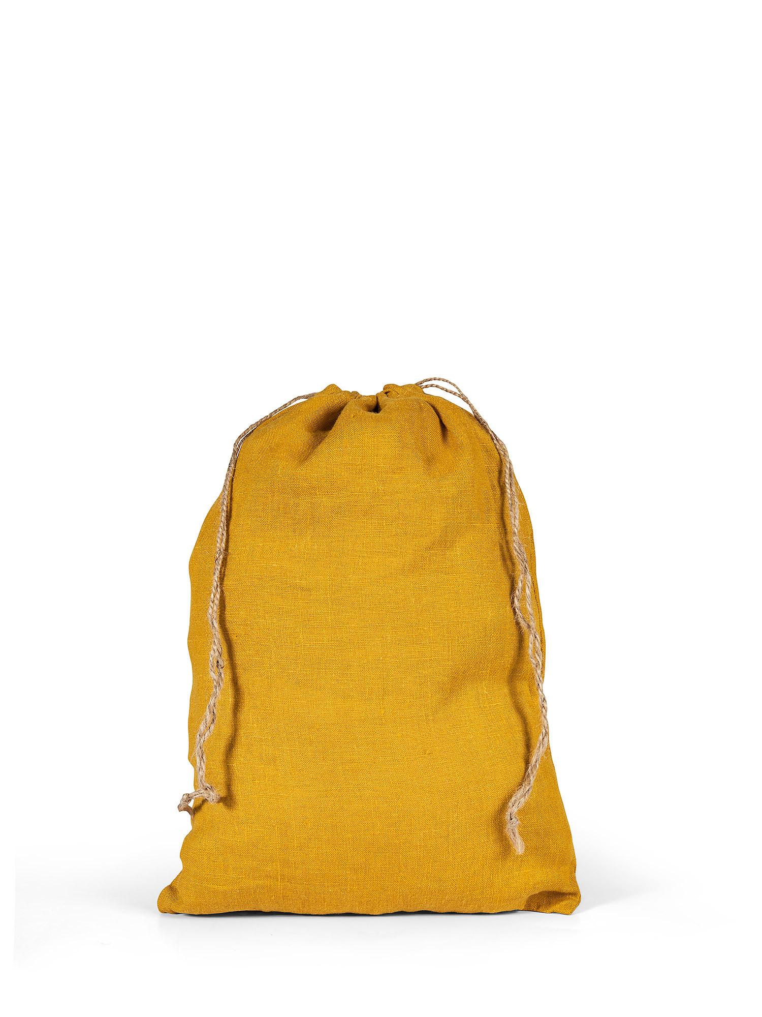 Sacchettino lino lavato tinta unita, Giallo ocra, large image number 0