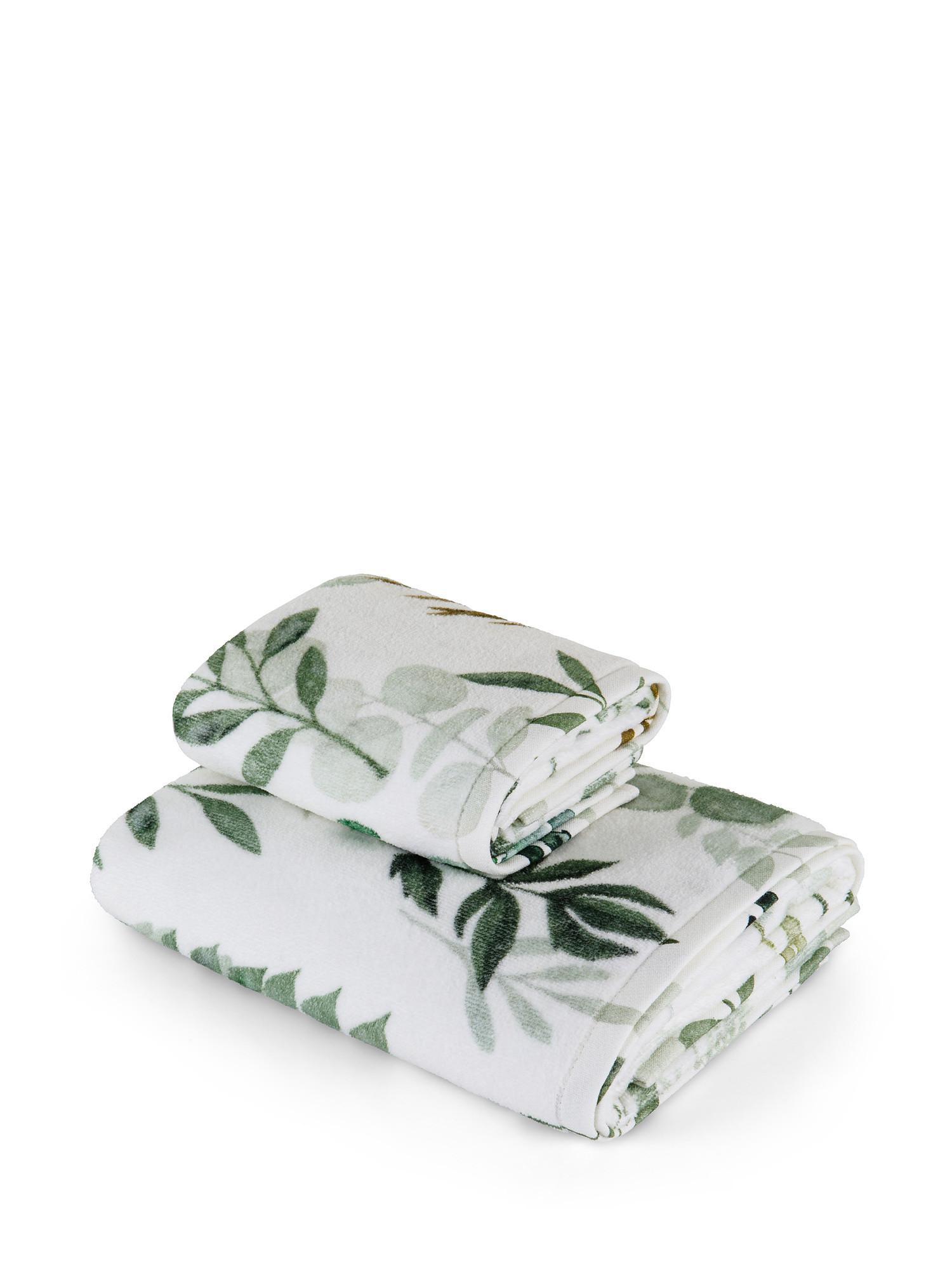 Asciugamano cotone velour motivo botanico, Bianco, large image number 0