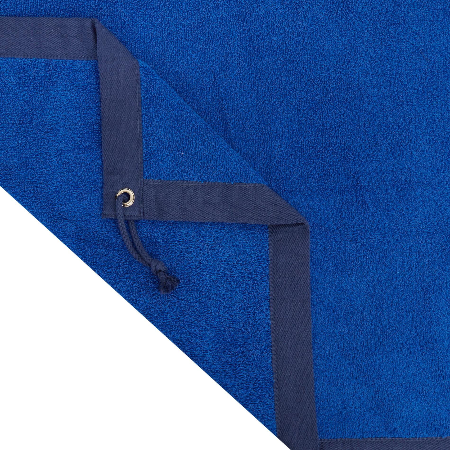 Telo mare spugna di cotone ricamo ancora, Azzurro scuro, large image number 1
