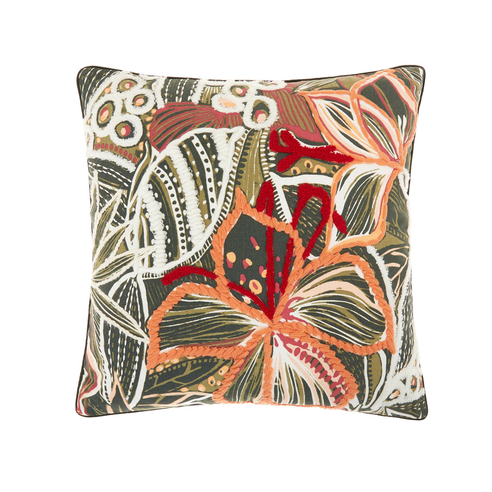 Cuscino ricamo foglie 45x45cm, Multicolor, large image number 0