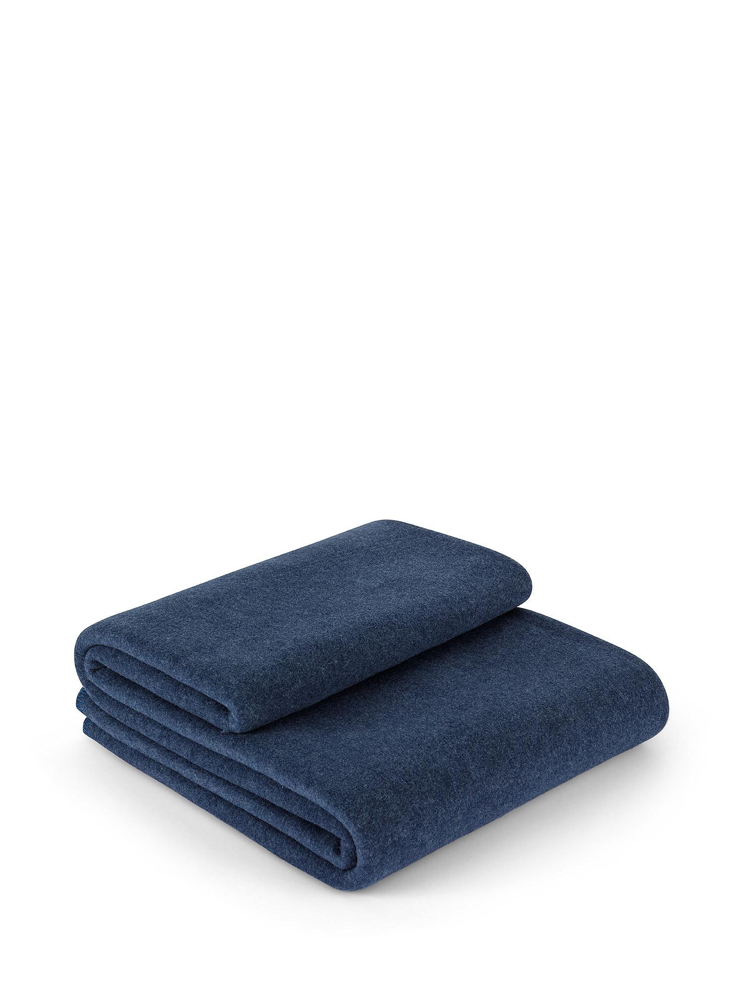 Plaid morbido pile tinta unita, Blu, large image number 0