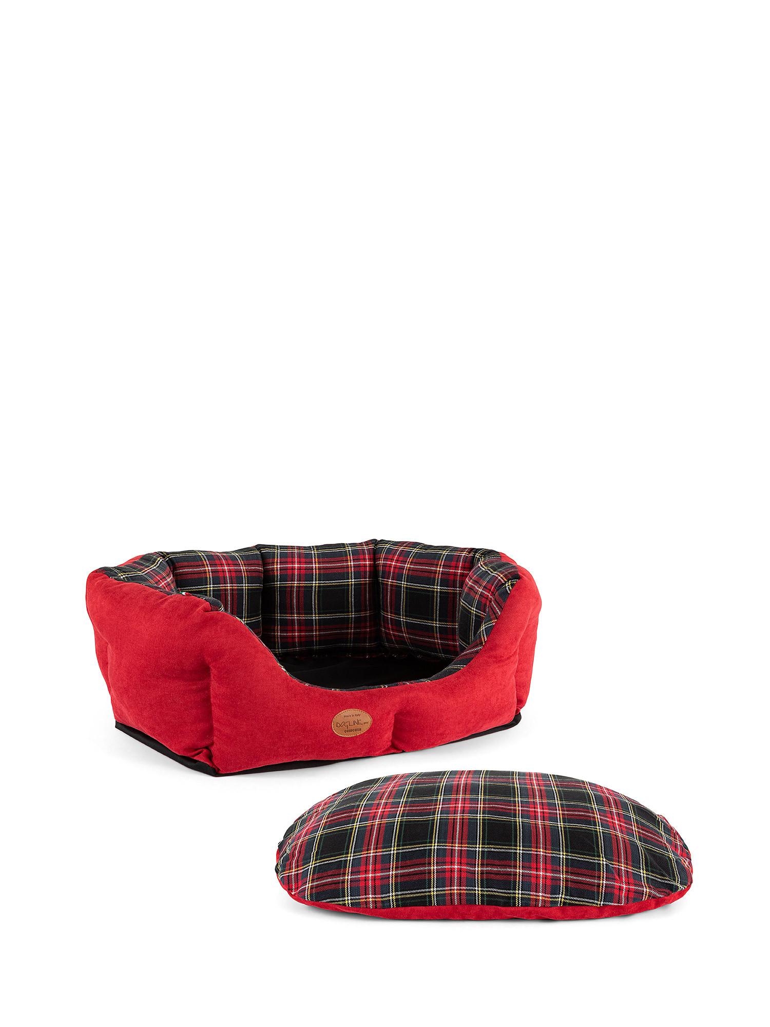 Cuccia trapuntata motivo tartan, Rosso, large image number 5