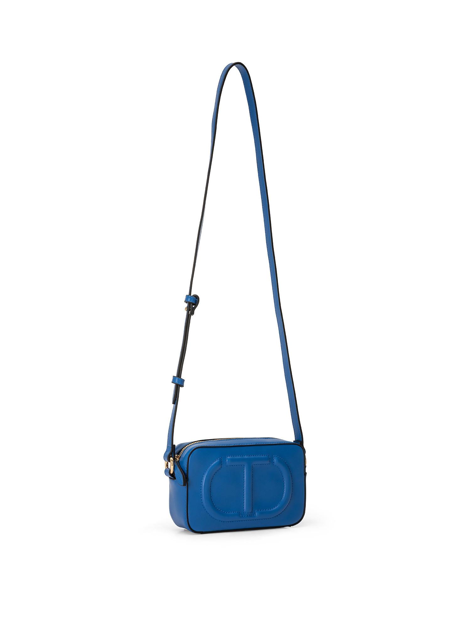 Tracolla piccola con zip e maxi logo trapuntato, Blu, large image number 1