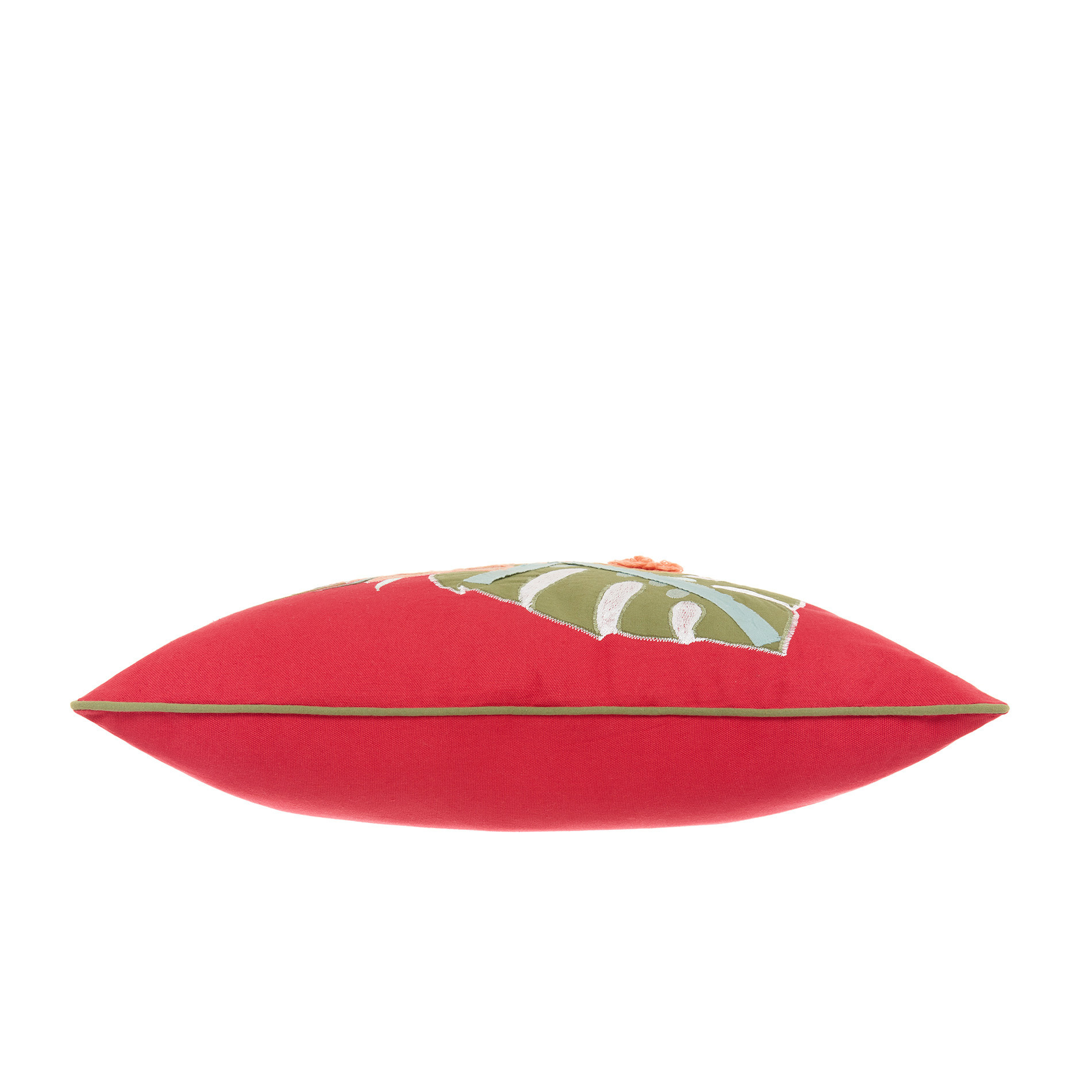 Cuscino ricamo foglie 45x45cm, Rosso, large image number 2