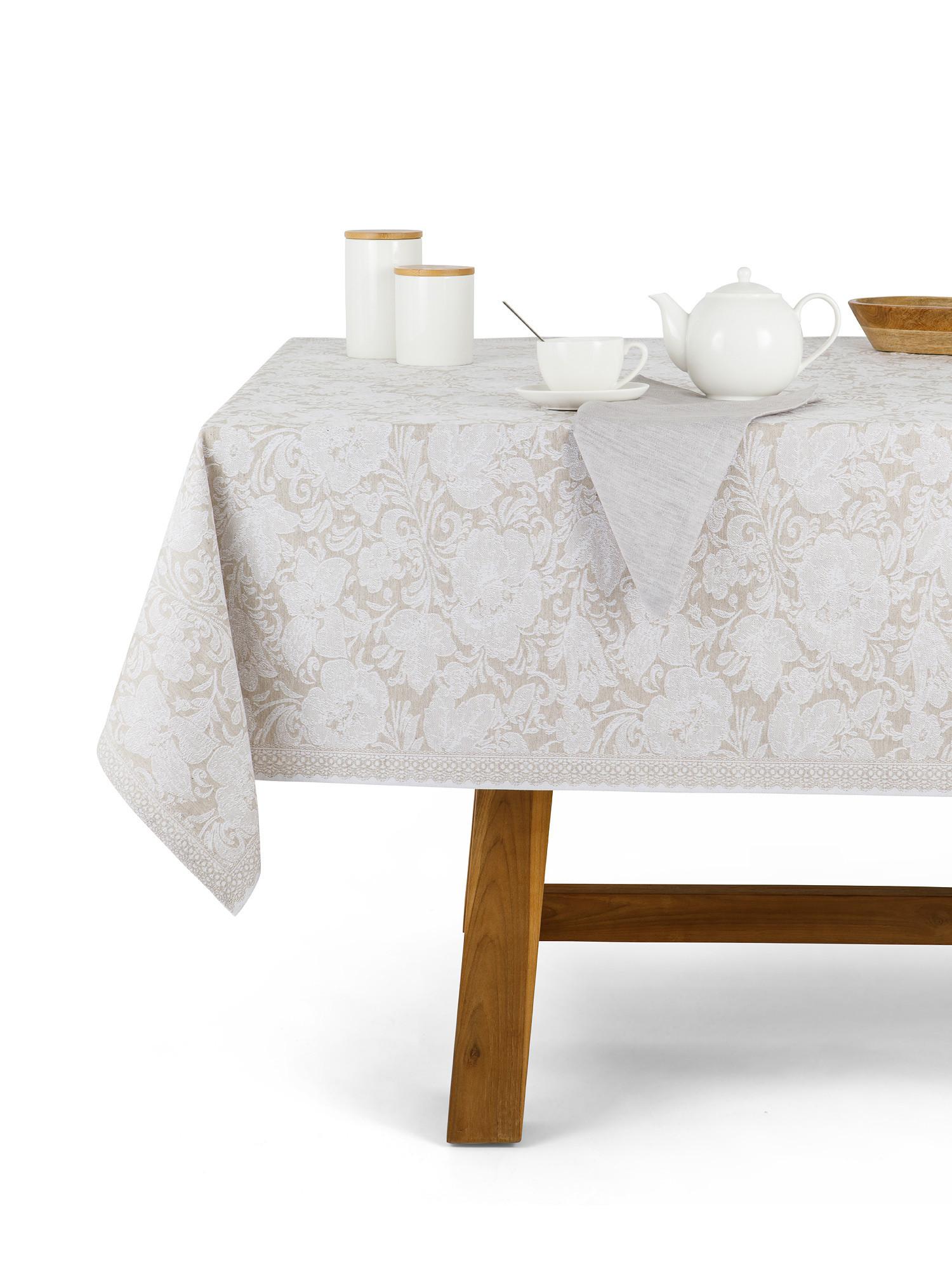 Tovaglia centrotavola lino e cotone motivo ornamentale, Bianco, large image number 0