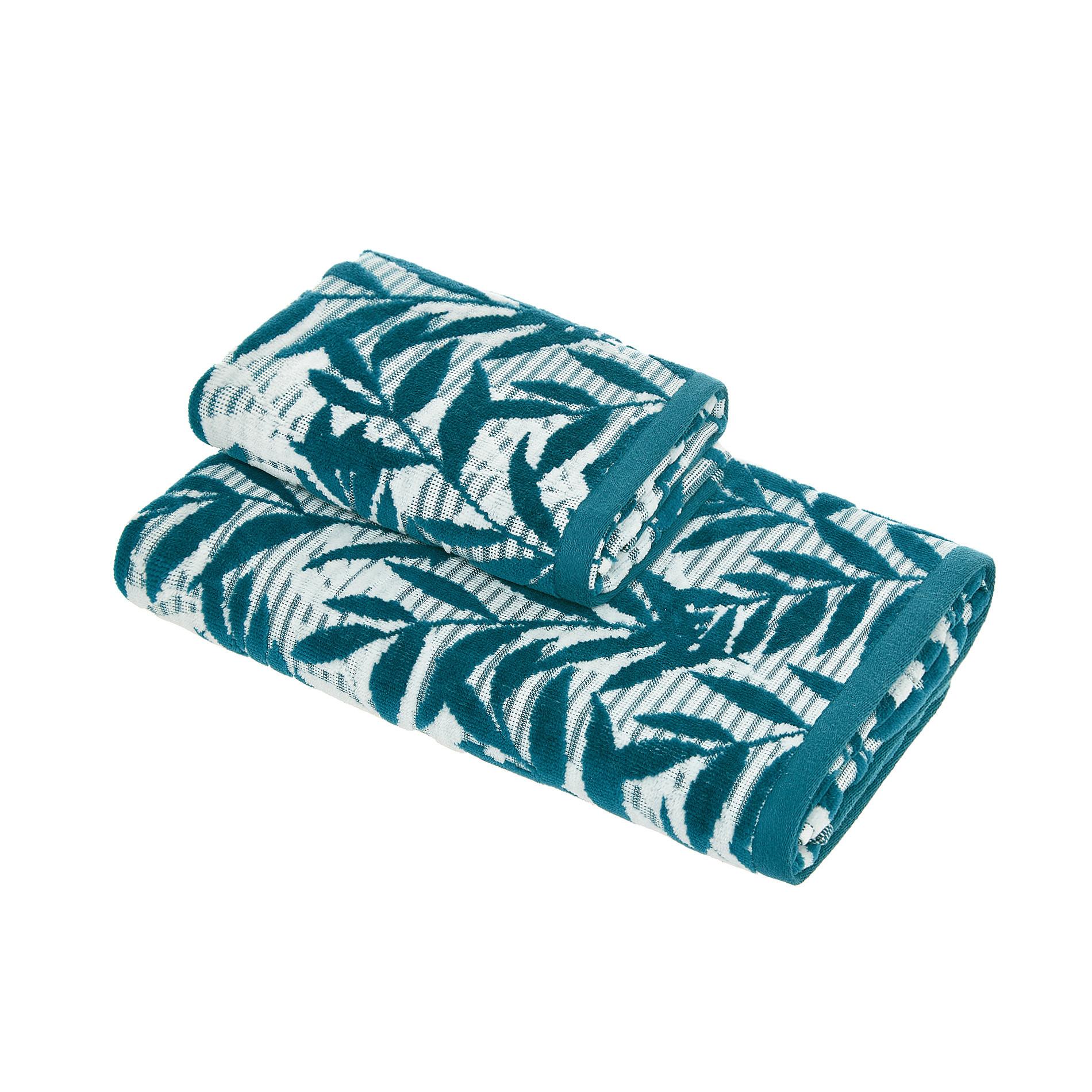 Asciugamano cotone velour motivo foglie, Verde scuro, large image number 0