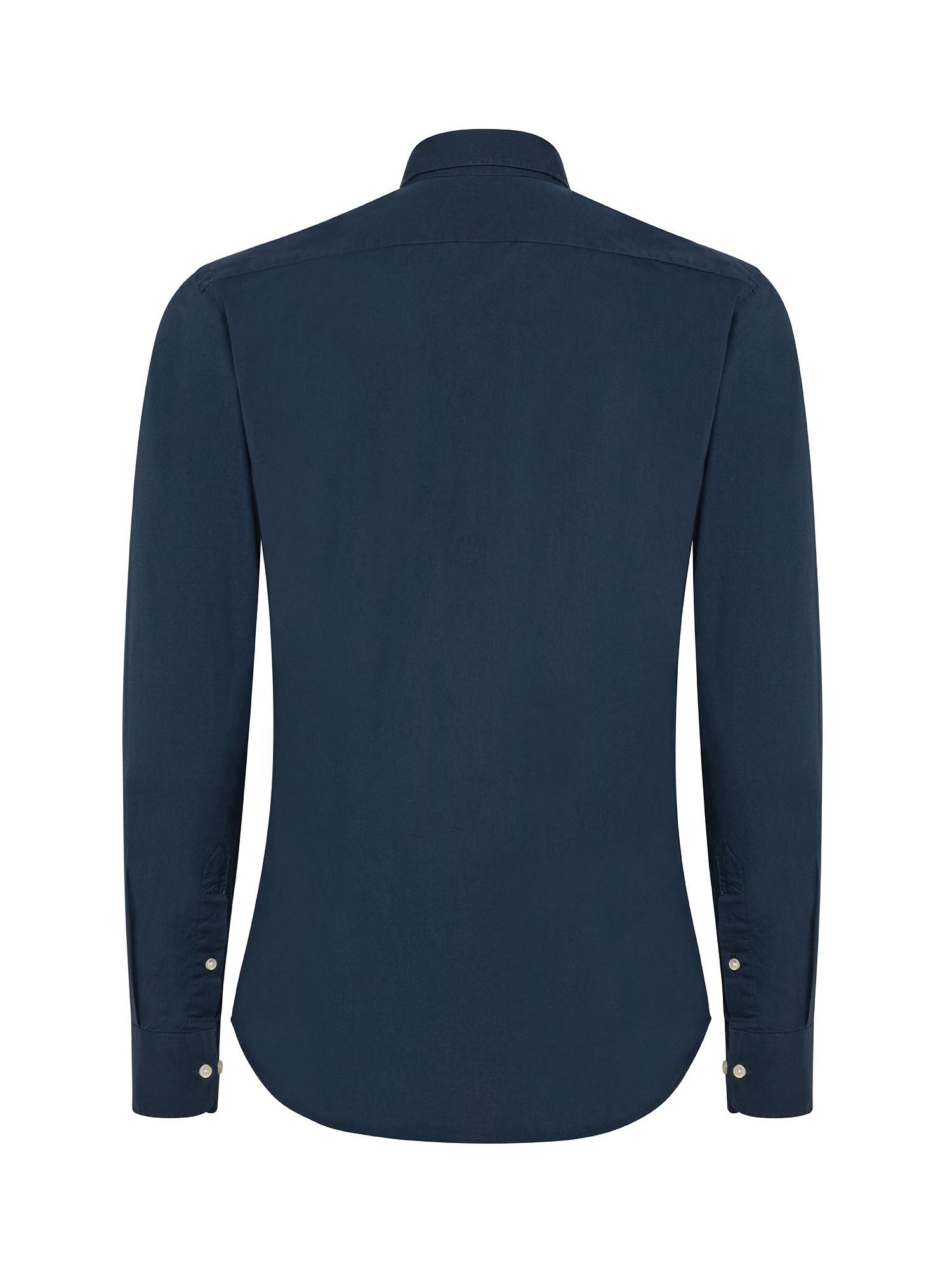 Camicia uomo a maniche lunghe in cotone elasticizzato, Blu, large image number 1