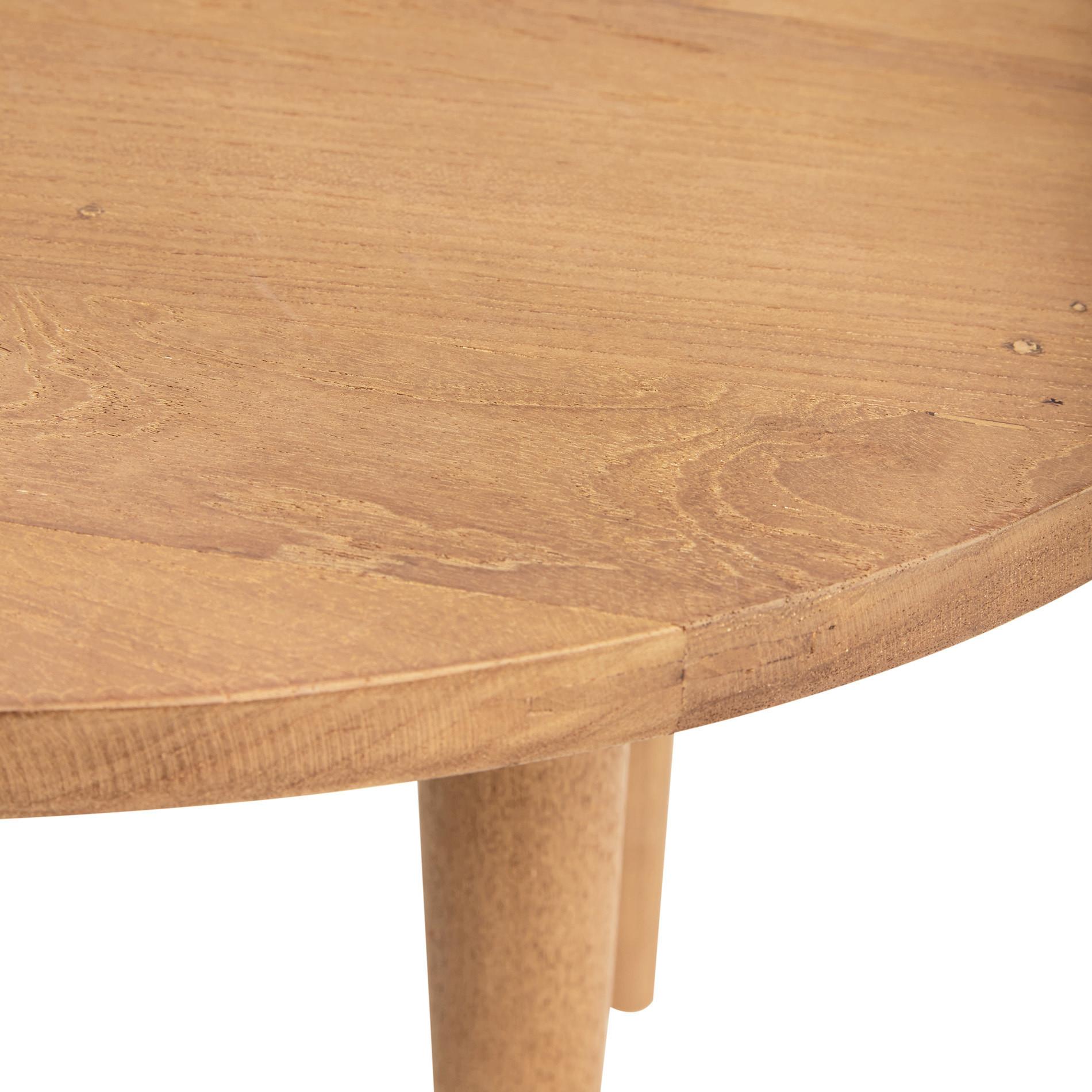 Tavolino rotondo in teak riciclato T-Round, Beige, large image number 1