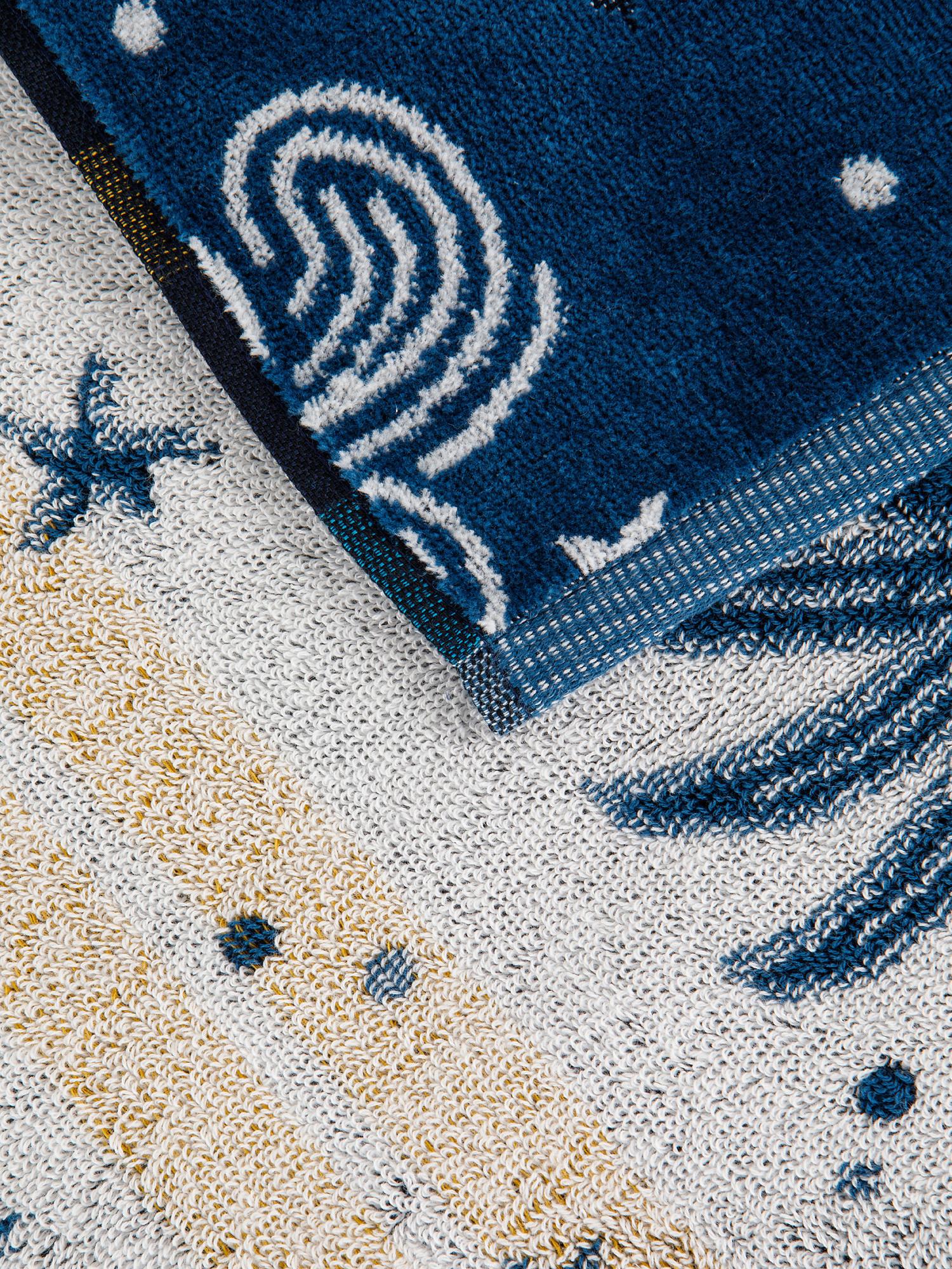 Asciugamano cotone velour motivo tarocchi, Blu, large image number 2