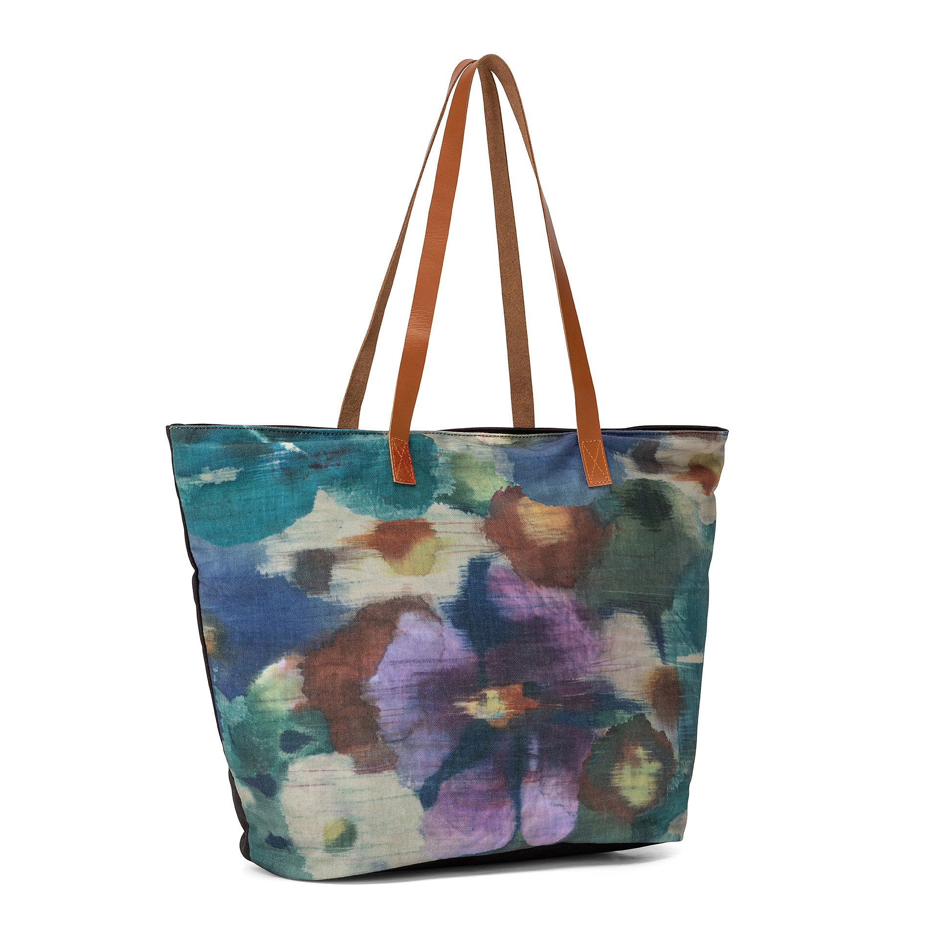 Shopper stampa floreale manici in pelle, Multicolor, large image number 1