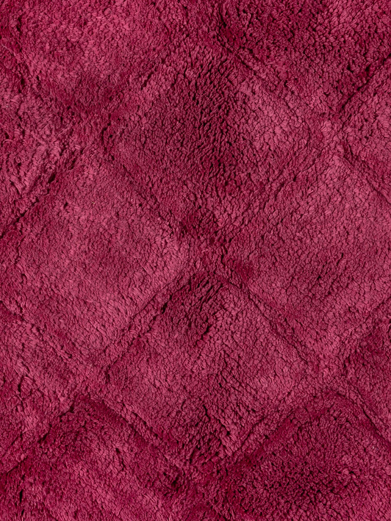 Tappeto bagno spugna di cotone motivo a rombi, Rosa scuro, large image number 1