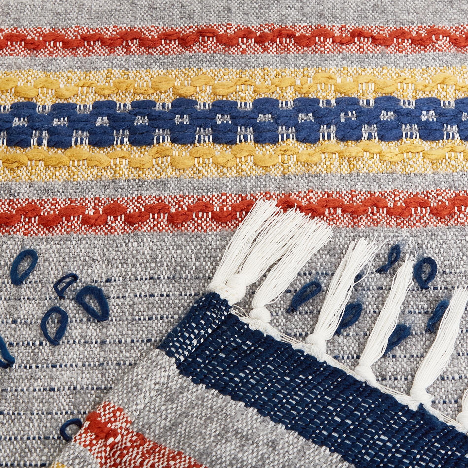 Plaid tessuto ricamato con frange, Multicolor, large image number 1