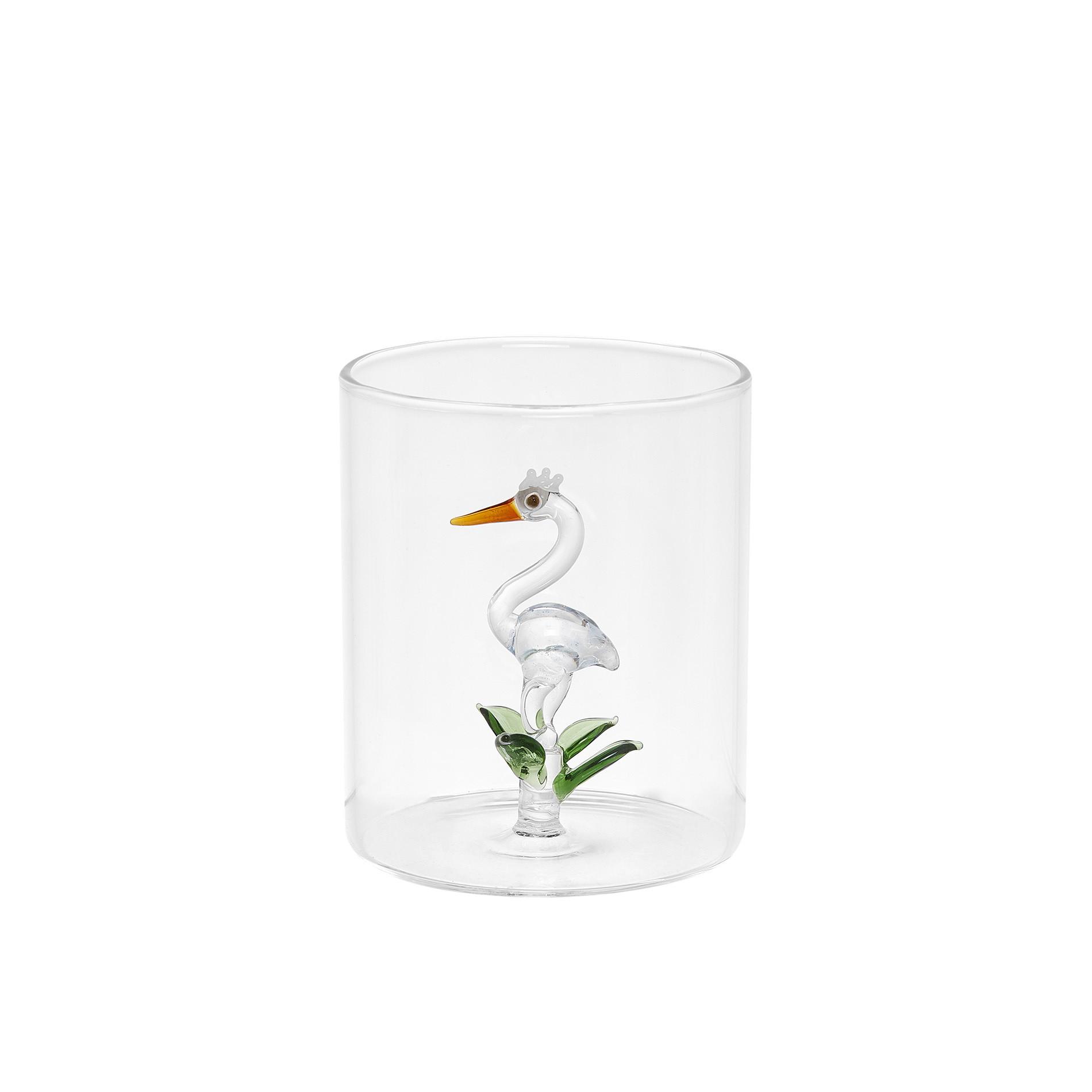 Bicchiere vetro dettaglio airone, Trasparente, large image number 0