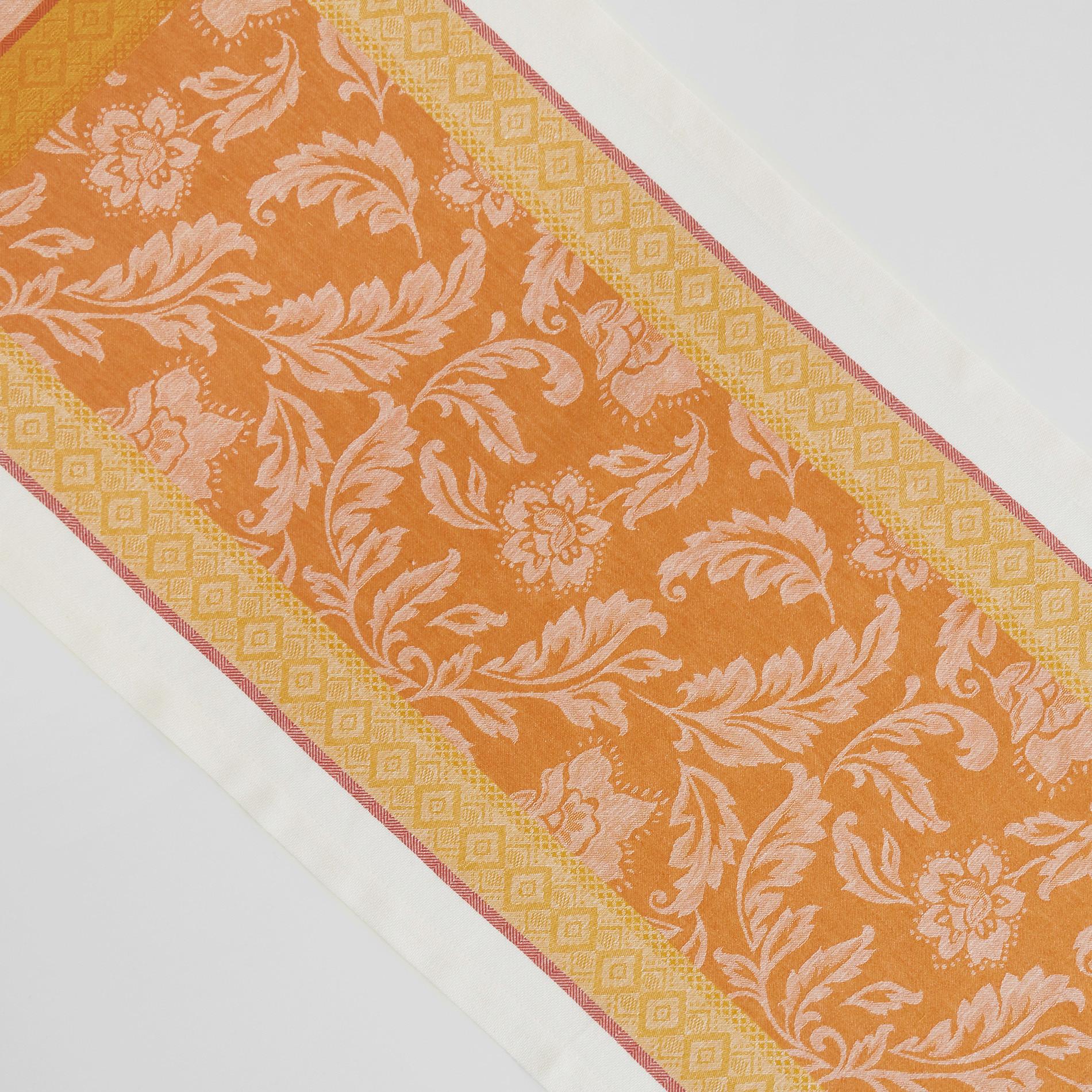 Runner lino e cotone motivo ornamentale, Arancione, large image number 1