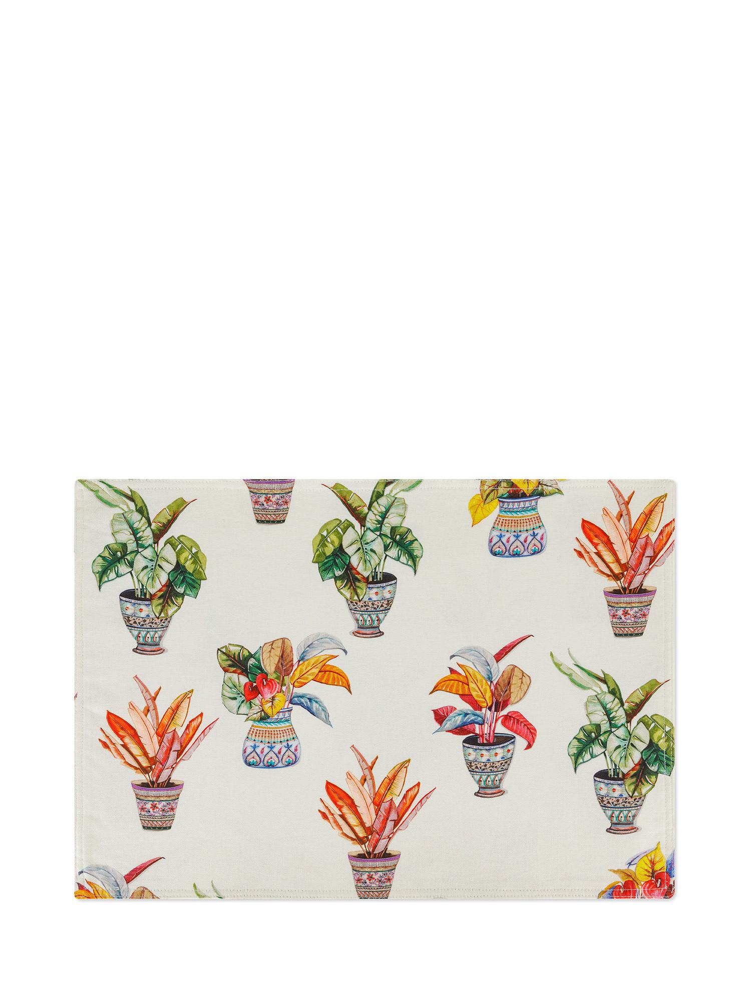 Tovaglietta puro cotone organico stampa vasi, Multicolor, large image number 0