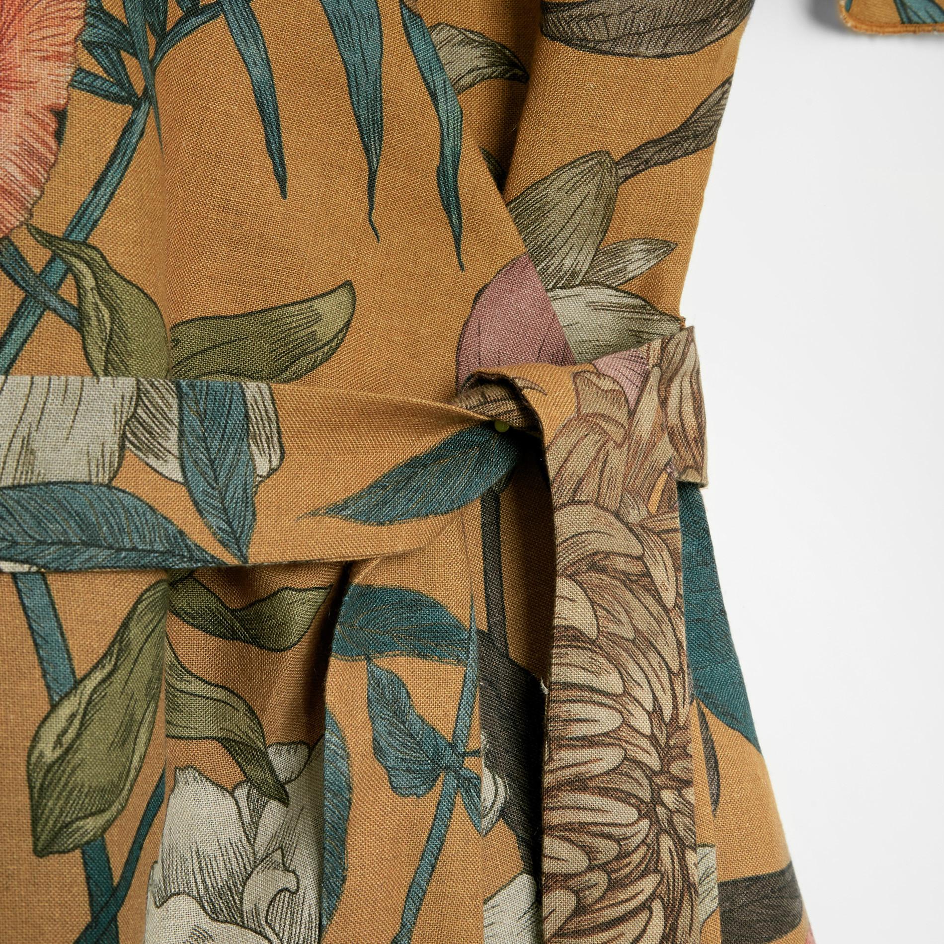 Abito a portafoglio in puro lino fantasia floreale, Multicolor, large image number 3
